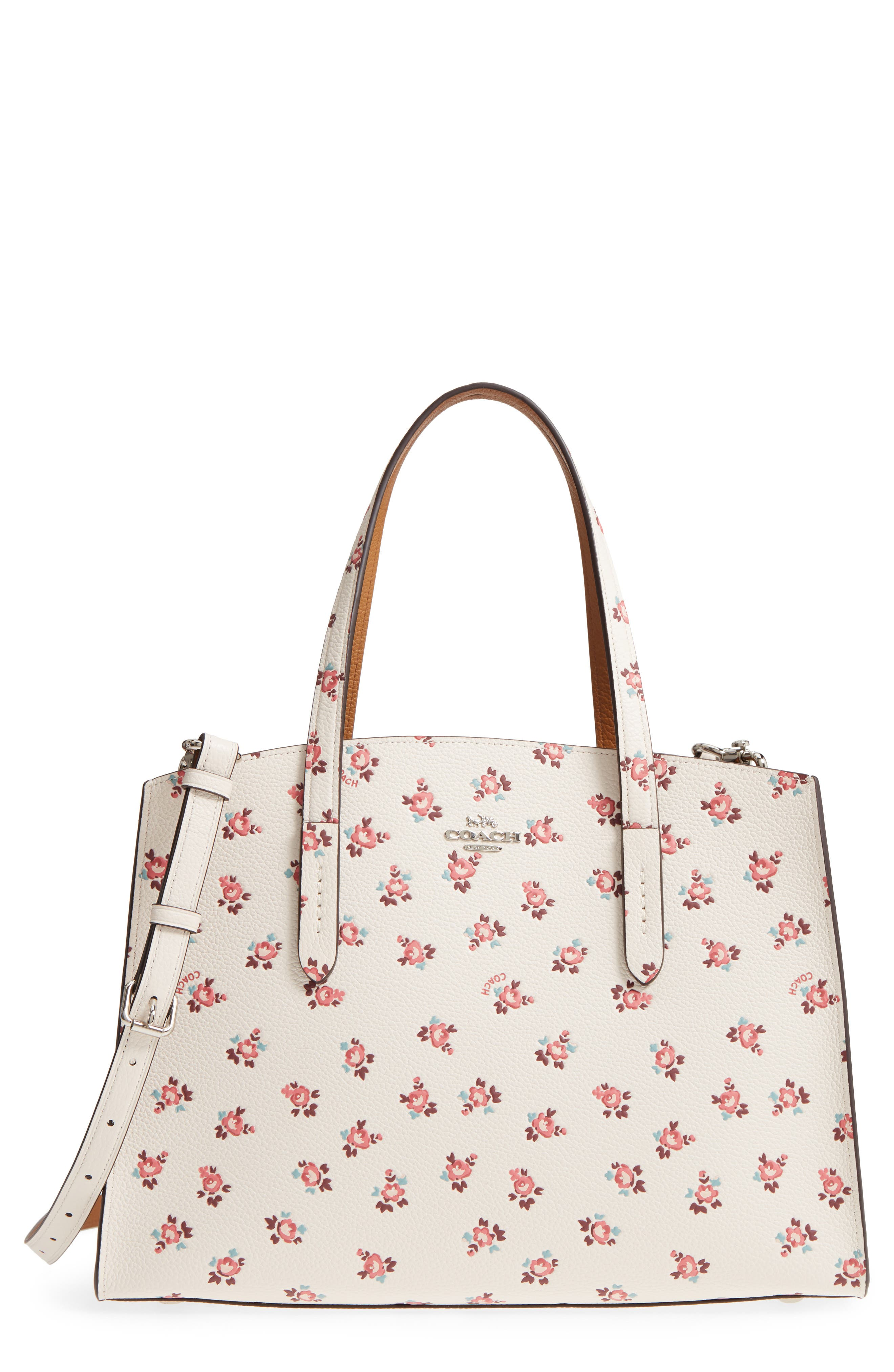 Charlie Floral Embossed Leather Tote,                             Main thumbnail 1, color,                             900