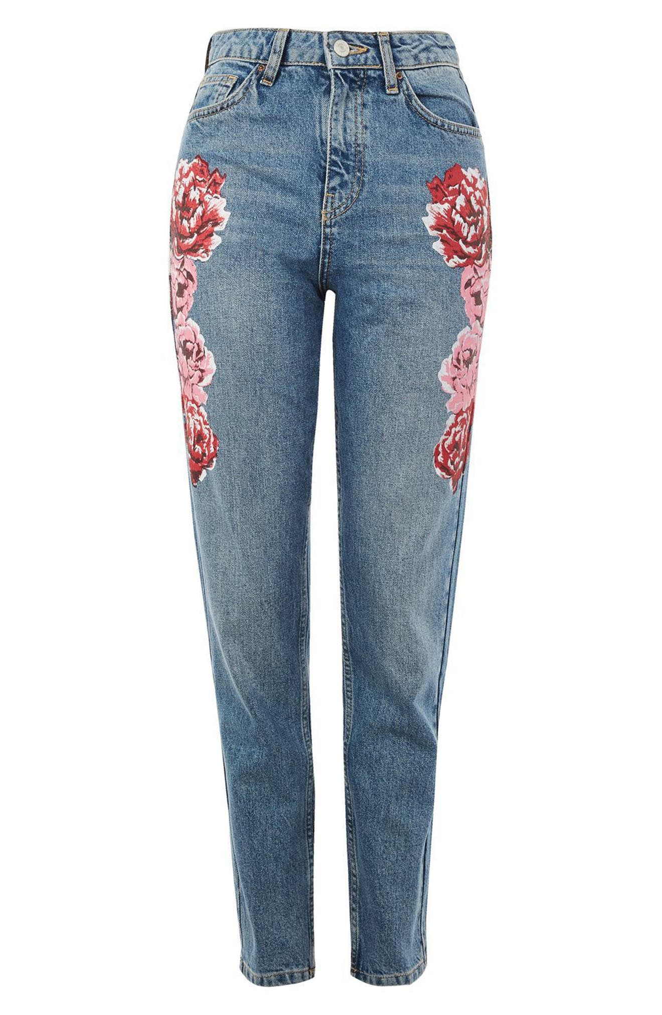 Peony Print Crop Mom Jeans,                             Alternate thumbnail 4, color,                             420