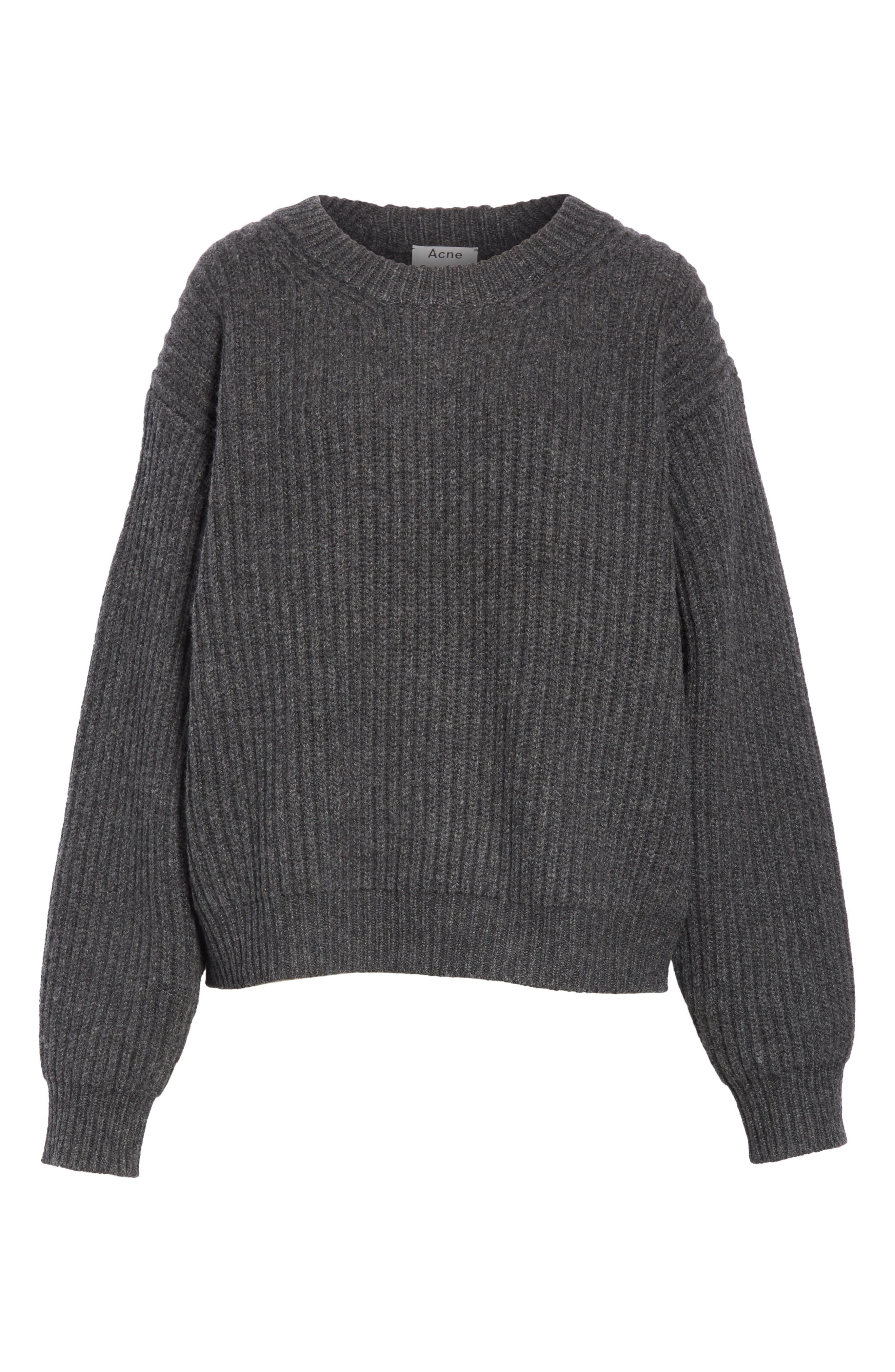 Ribbed Oversized Sweater,                             Alternate thumbnail 6, color,                             DARK GREY
