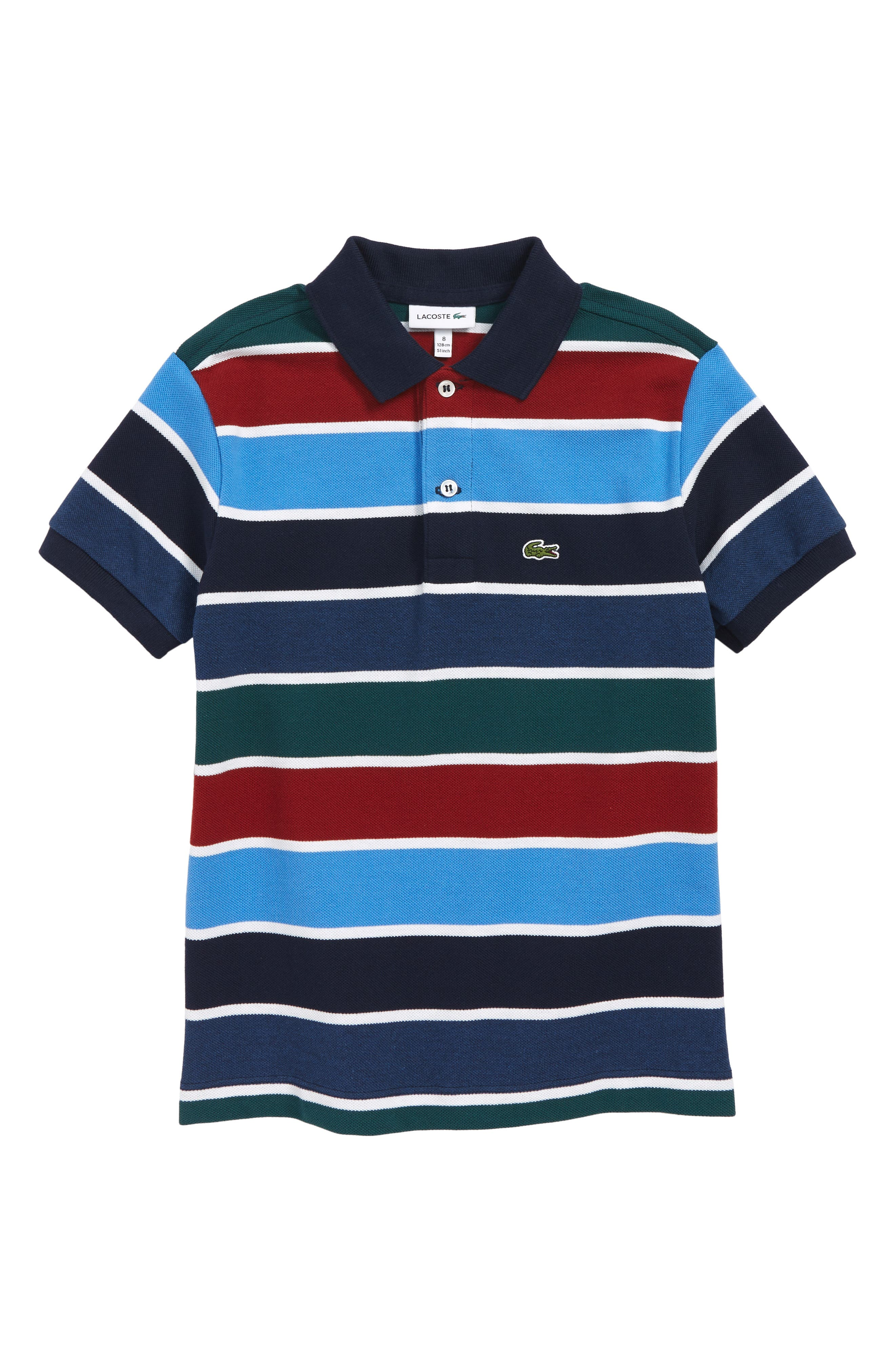 LACOSTE,                             Multicolor Stripe Piqué Polo,                             Main thumbnail 1, color,                             BLUE / WHITE
