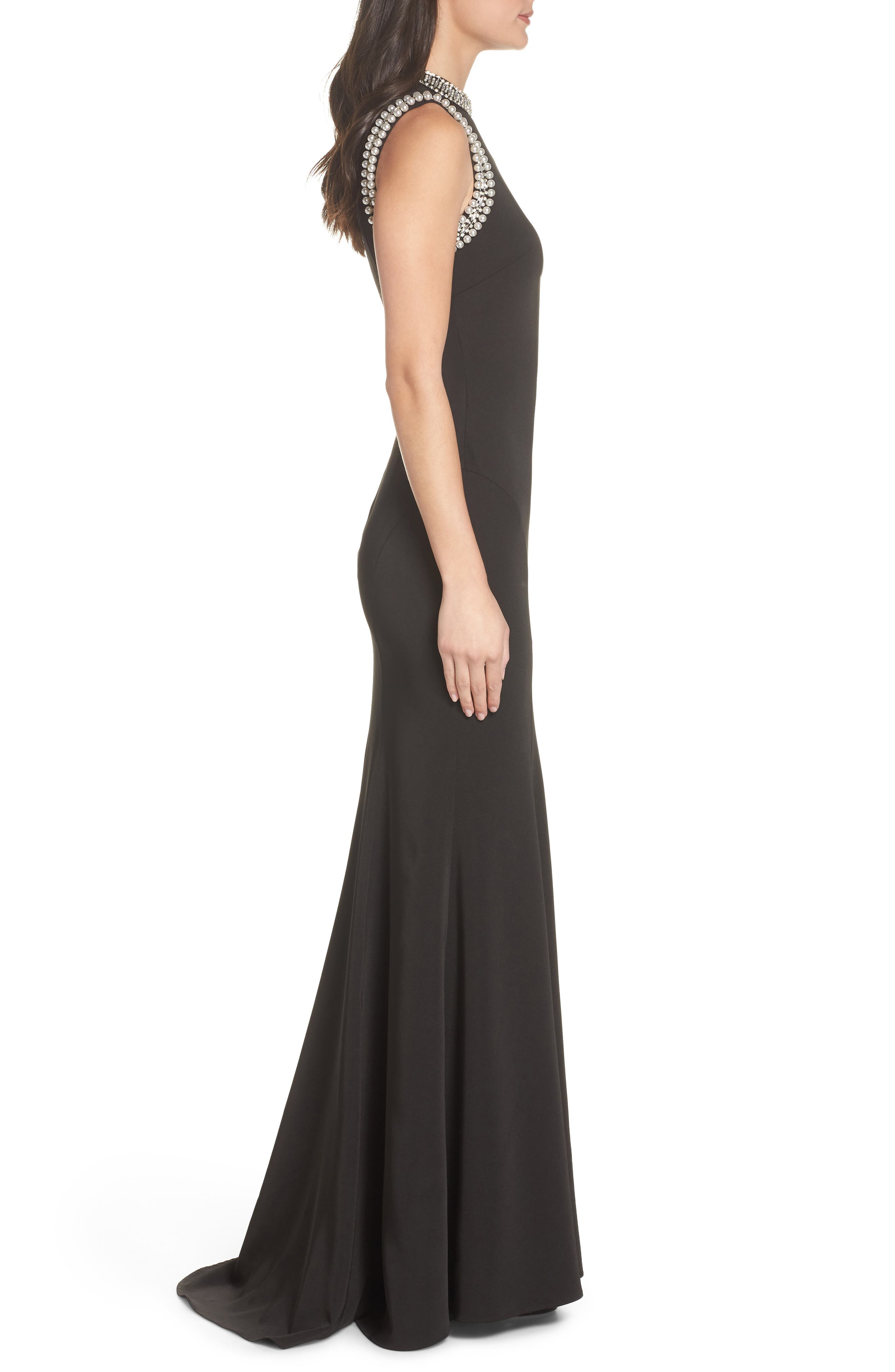 Mac Duggal Embellished Trumpet Gown,                             Alternate thumbnail 3, color,                             001