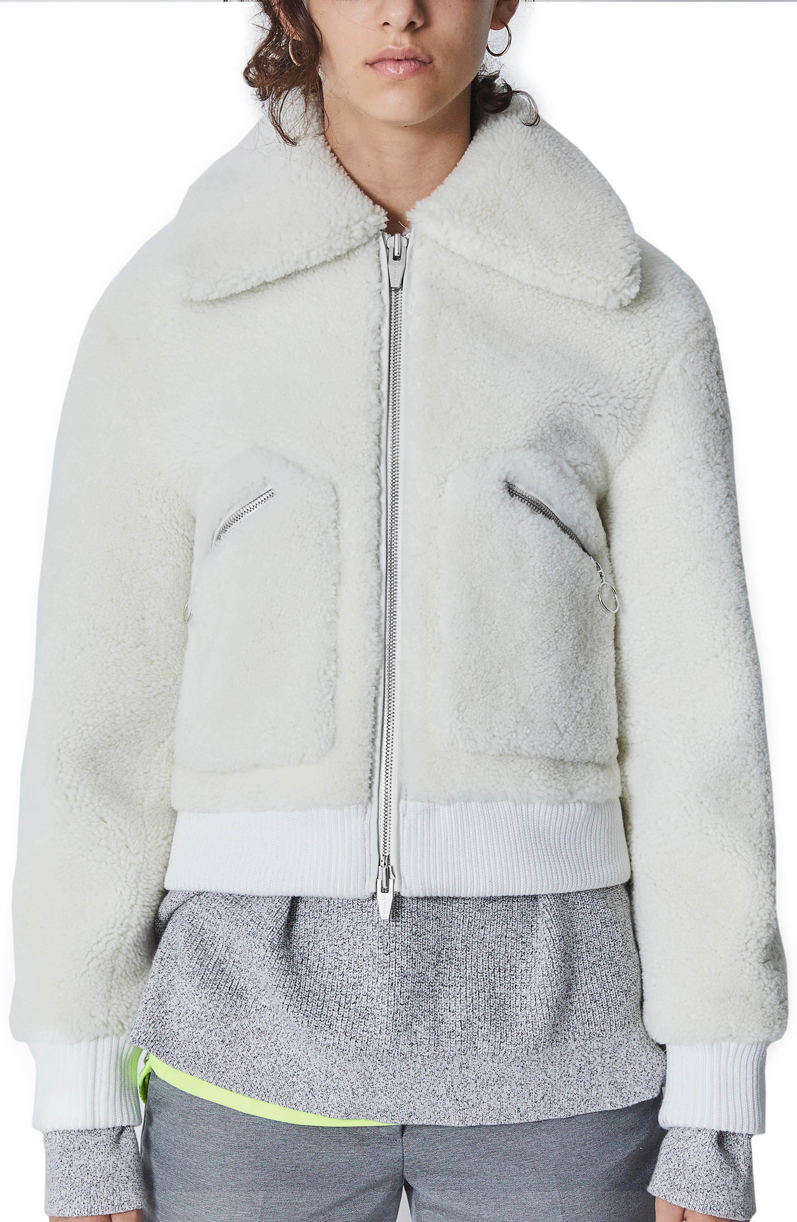 THE ARRIVALS Kala Genuine Shearling Bomber Jacket in Stone