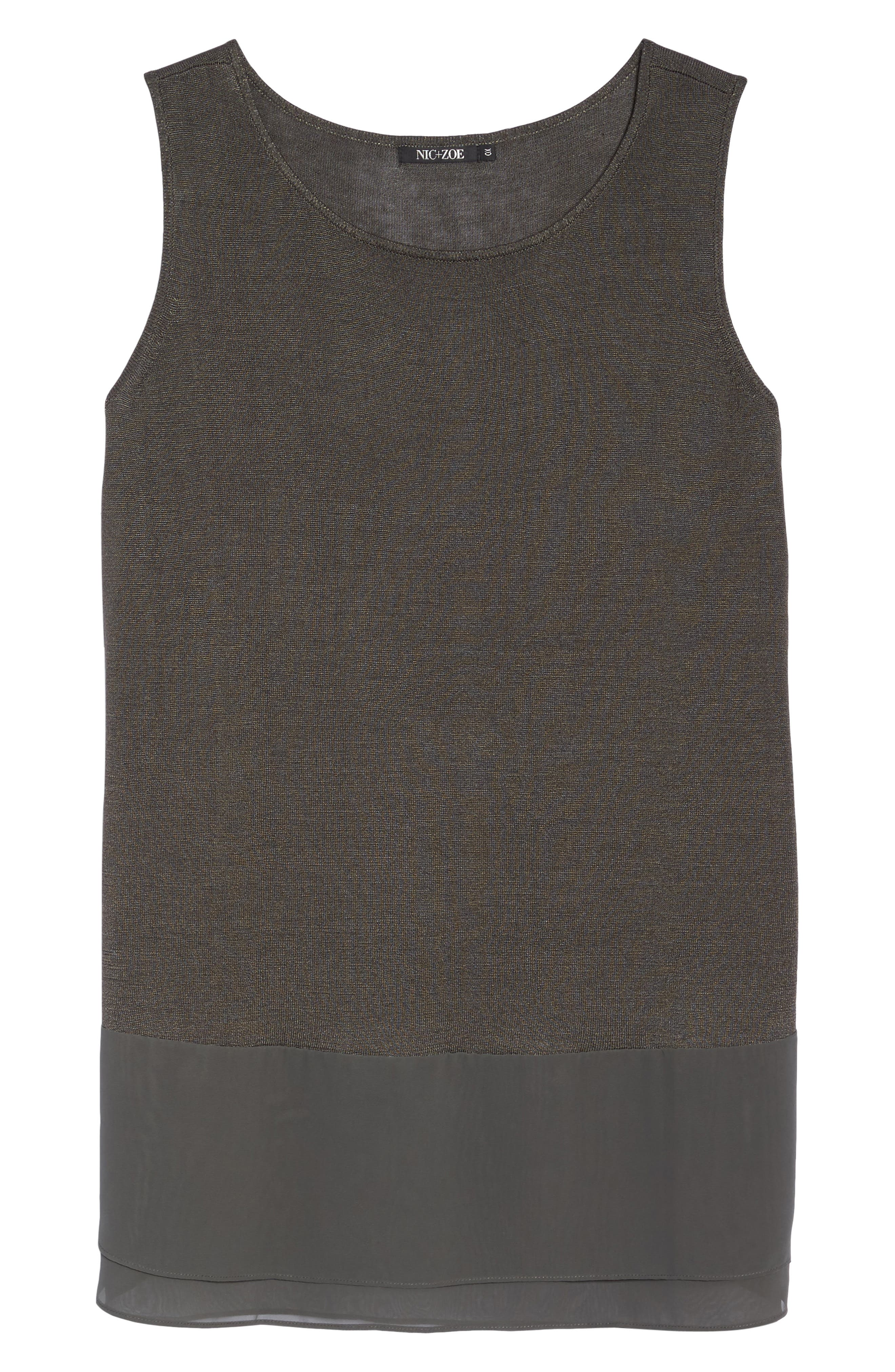 Chiffon Trim Tank,                             Alternate thumbnail 6, color,                             TERRENE