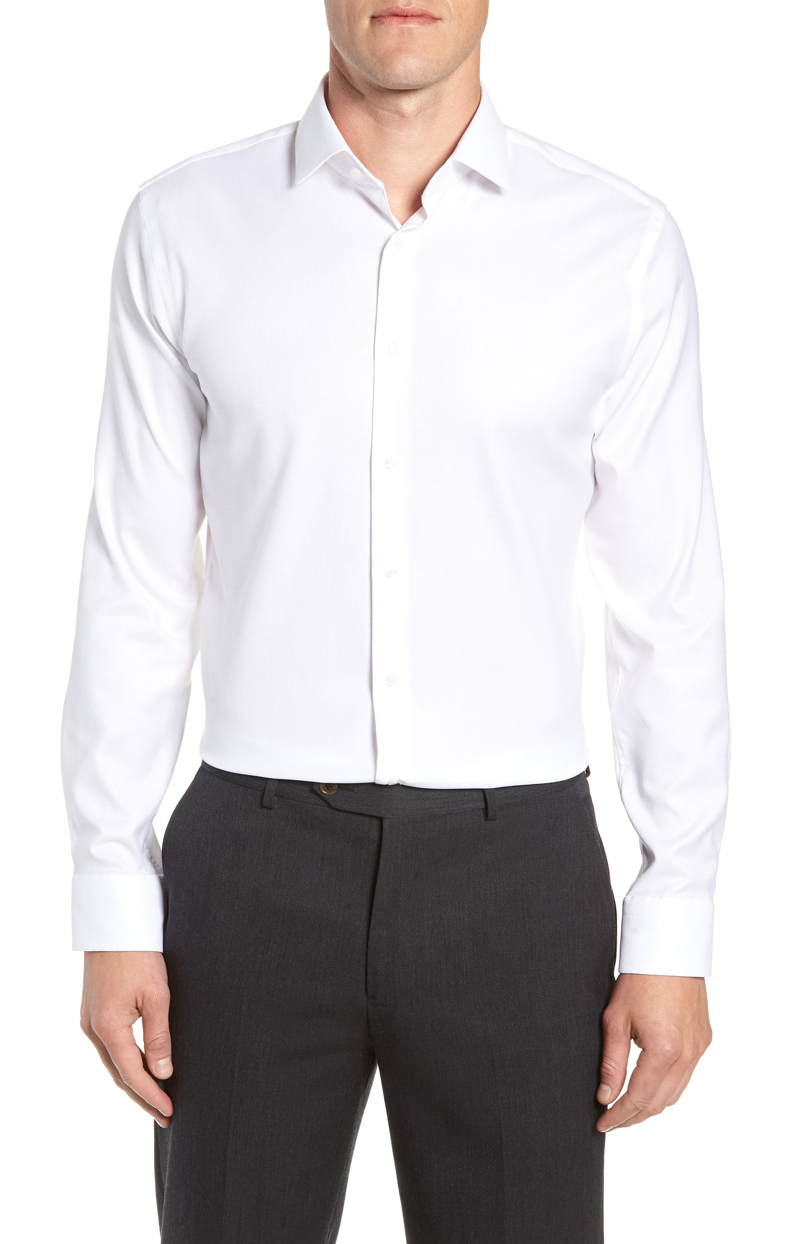 Trim Fit Non-Iron Print Dress Shirt,                         Main,                         color, WHITE
