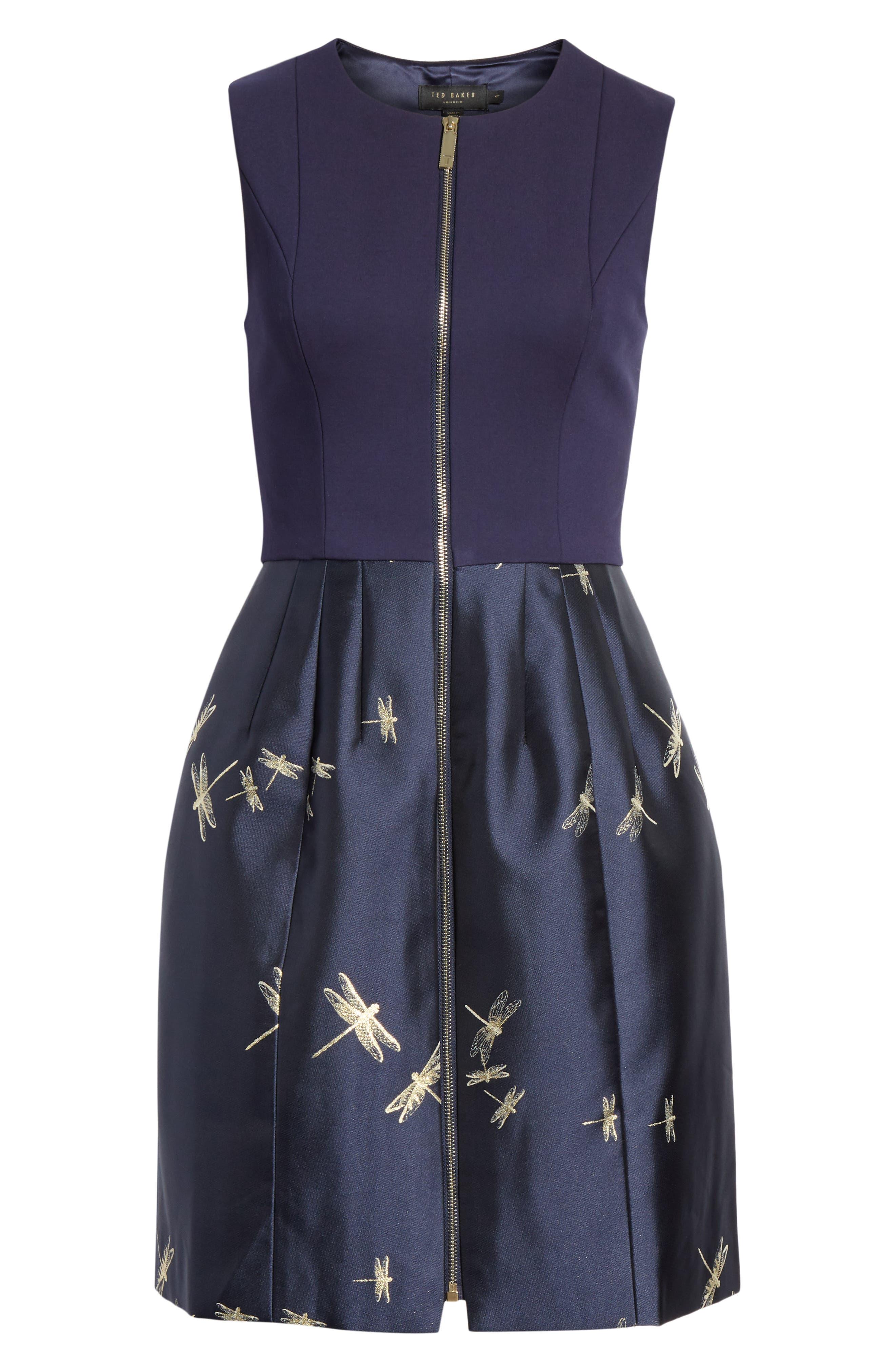 Adellu Fit & Flare Dress,                             Alternate thumbnail 8, color,                             NAVY