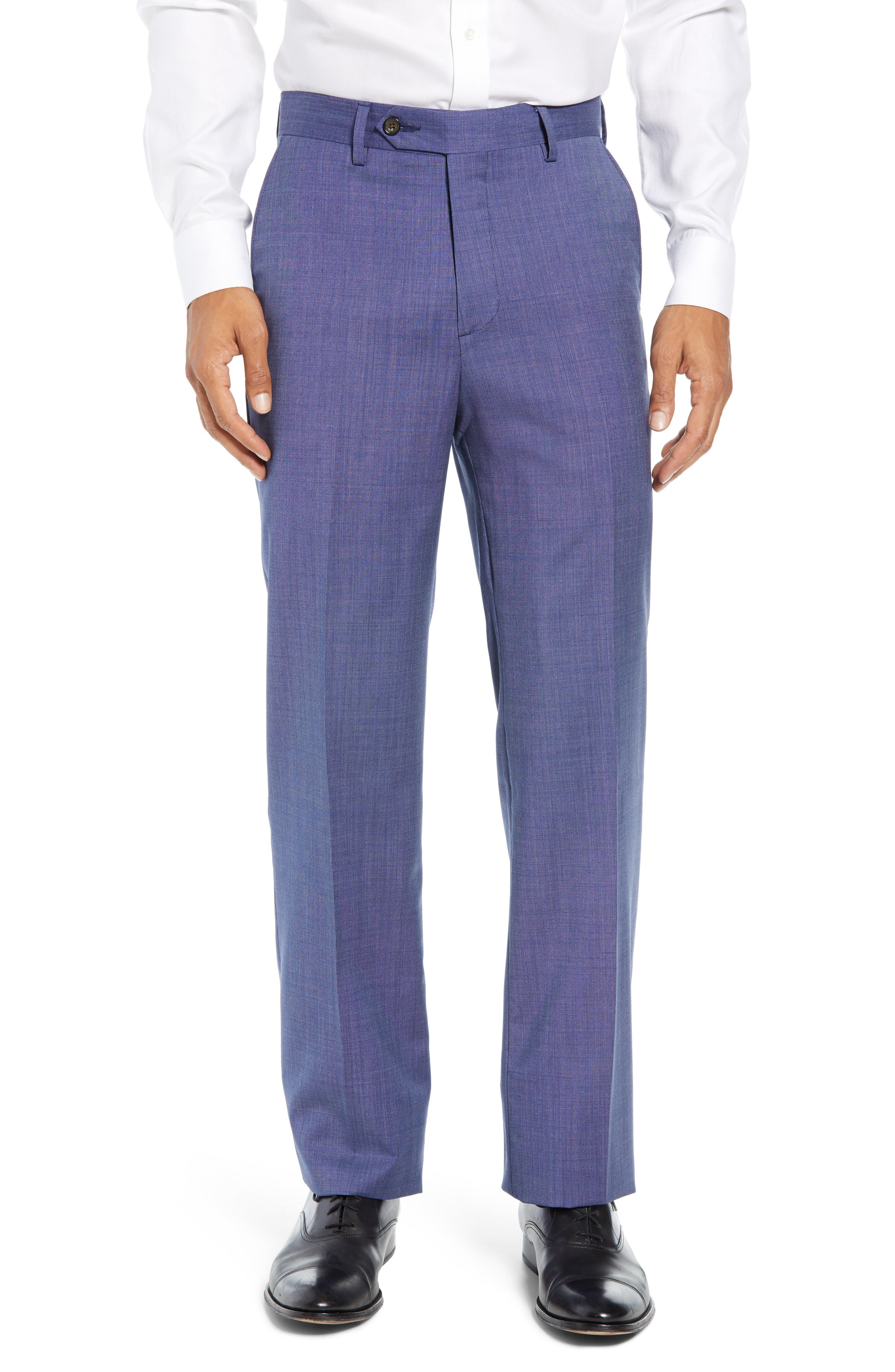 Manufacturing Flat Front Wool Trousers,                         Main,                         color, BLUE