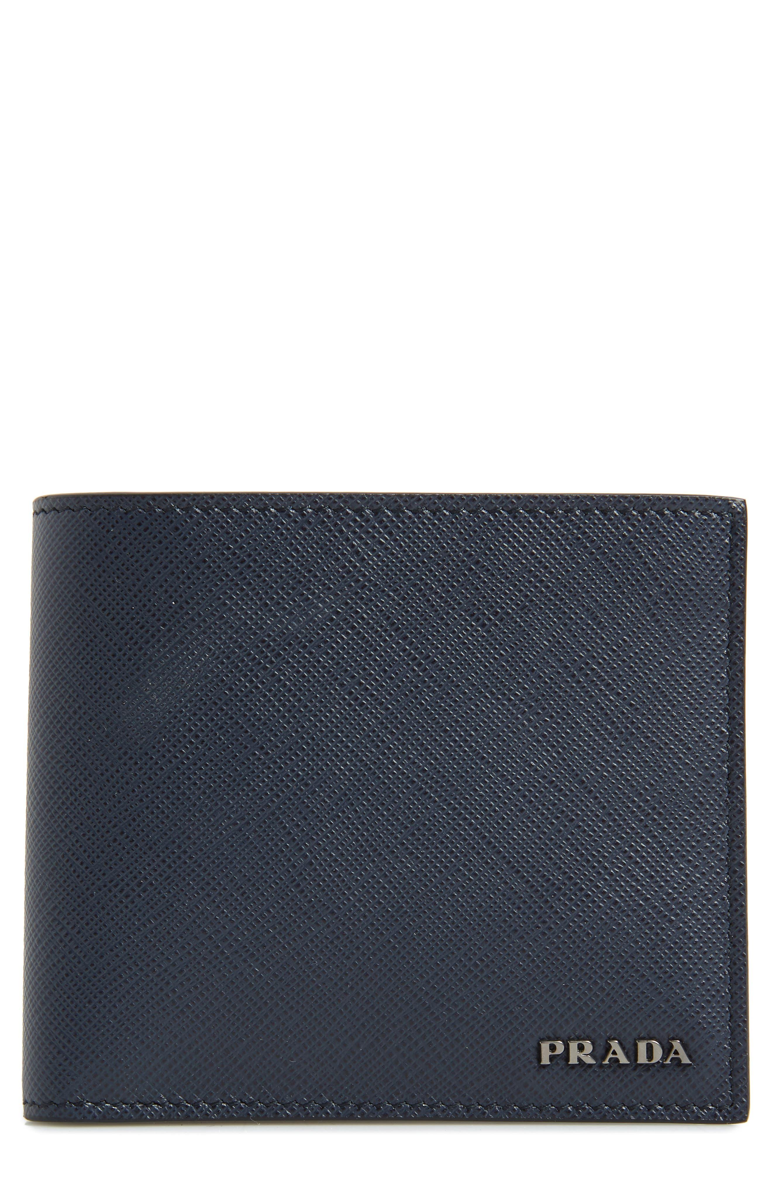 Bicolor Leather Wallet,                             Main thumbnail 1, color,                             BLUE