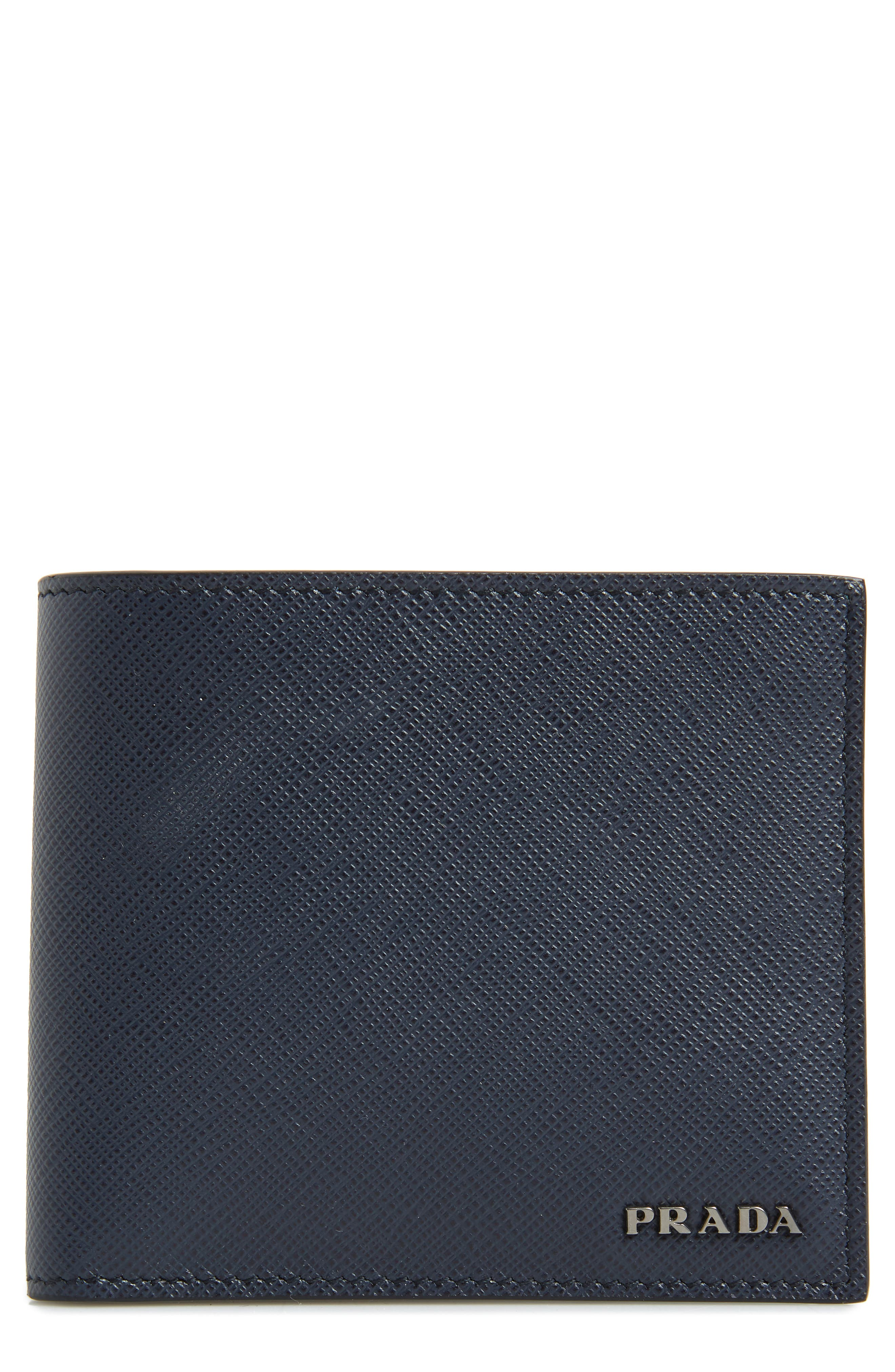 Bicolor Leather Wallet,                         Main,                         color, BLUE