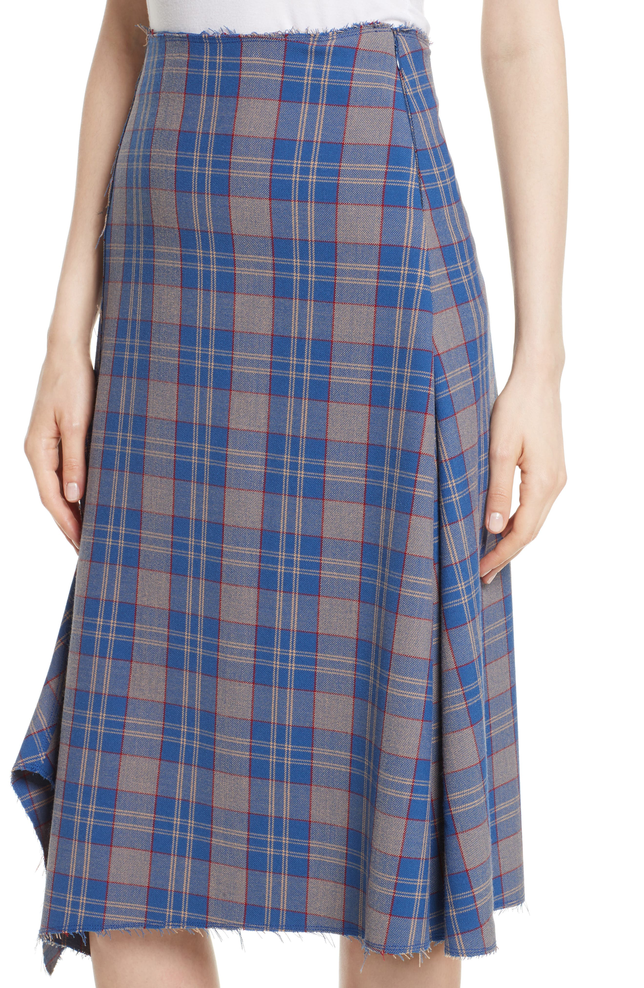 Asymmetric Plaid Midi Skirt,                             Alternate thumbnail 4, color,