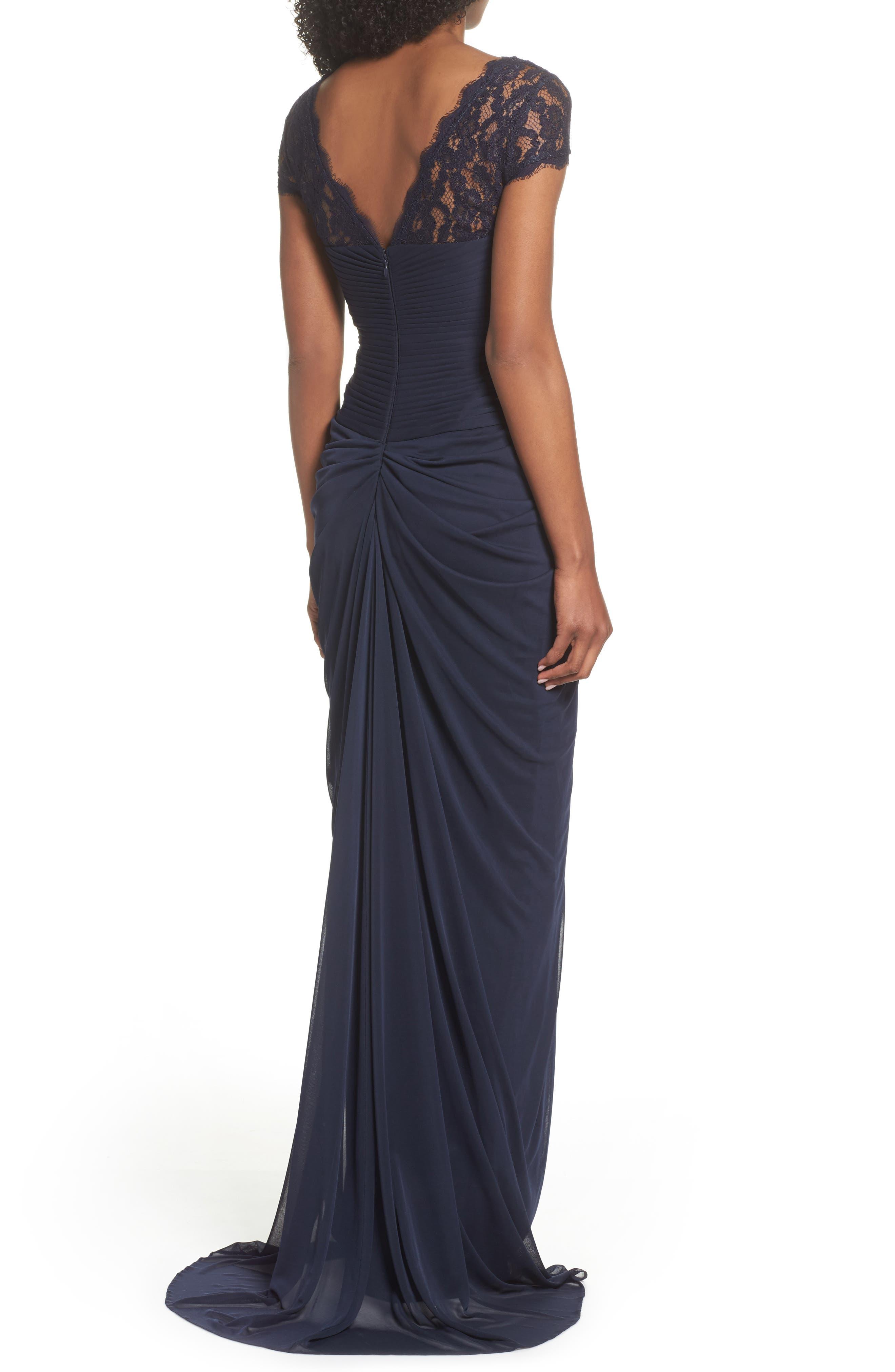 Lace Yoke Drape Gown,                             Alternate thumbnail 6, color,