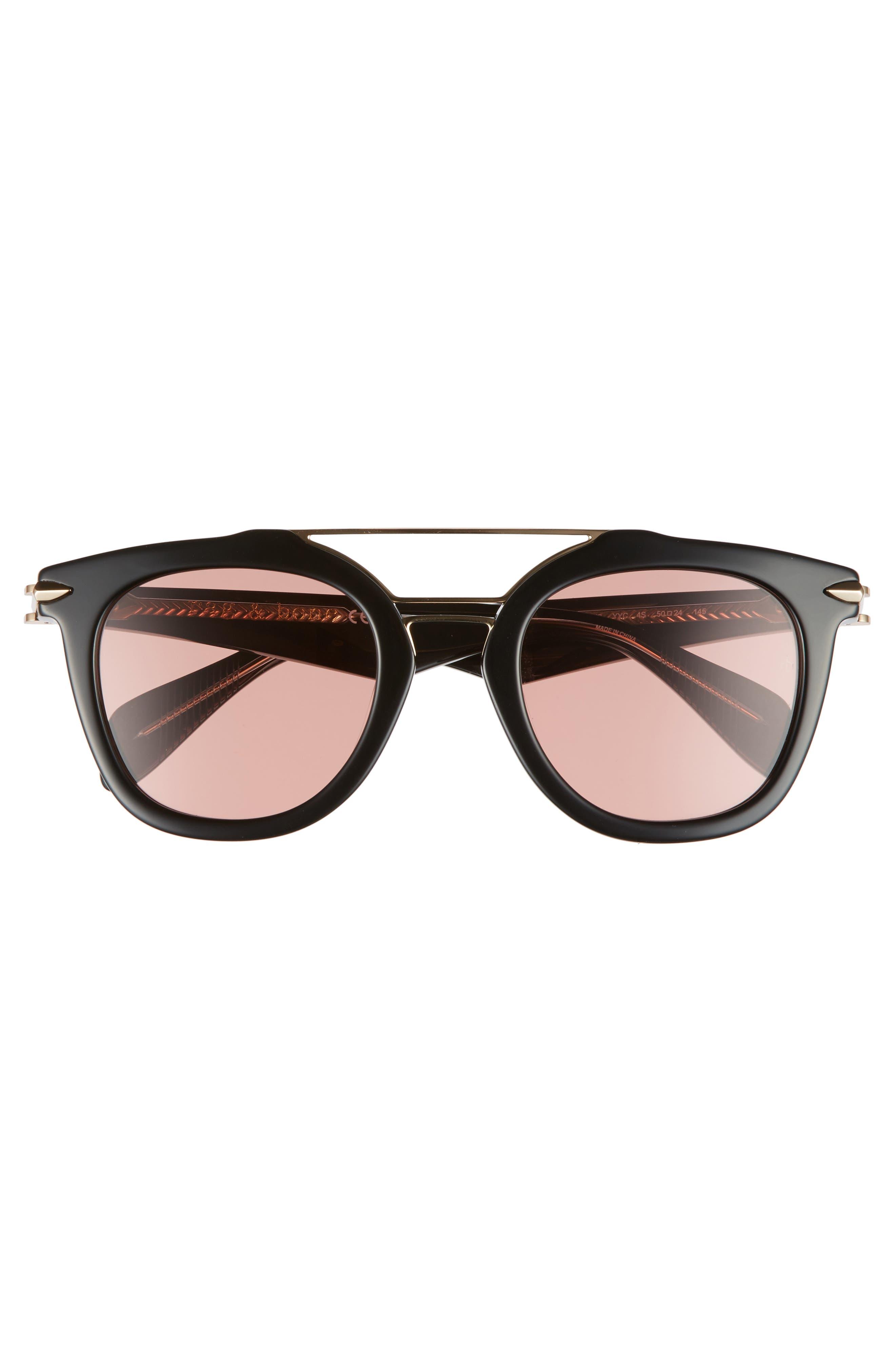 50mm Round Aviator Sunglasses,                             Alternate thumbnail 3, color,                             BLACK/ GOLD/ BRONZE