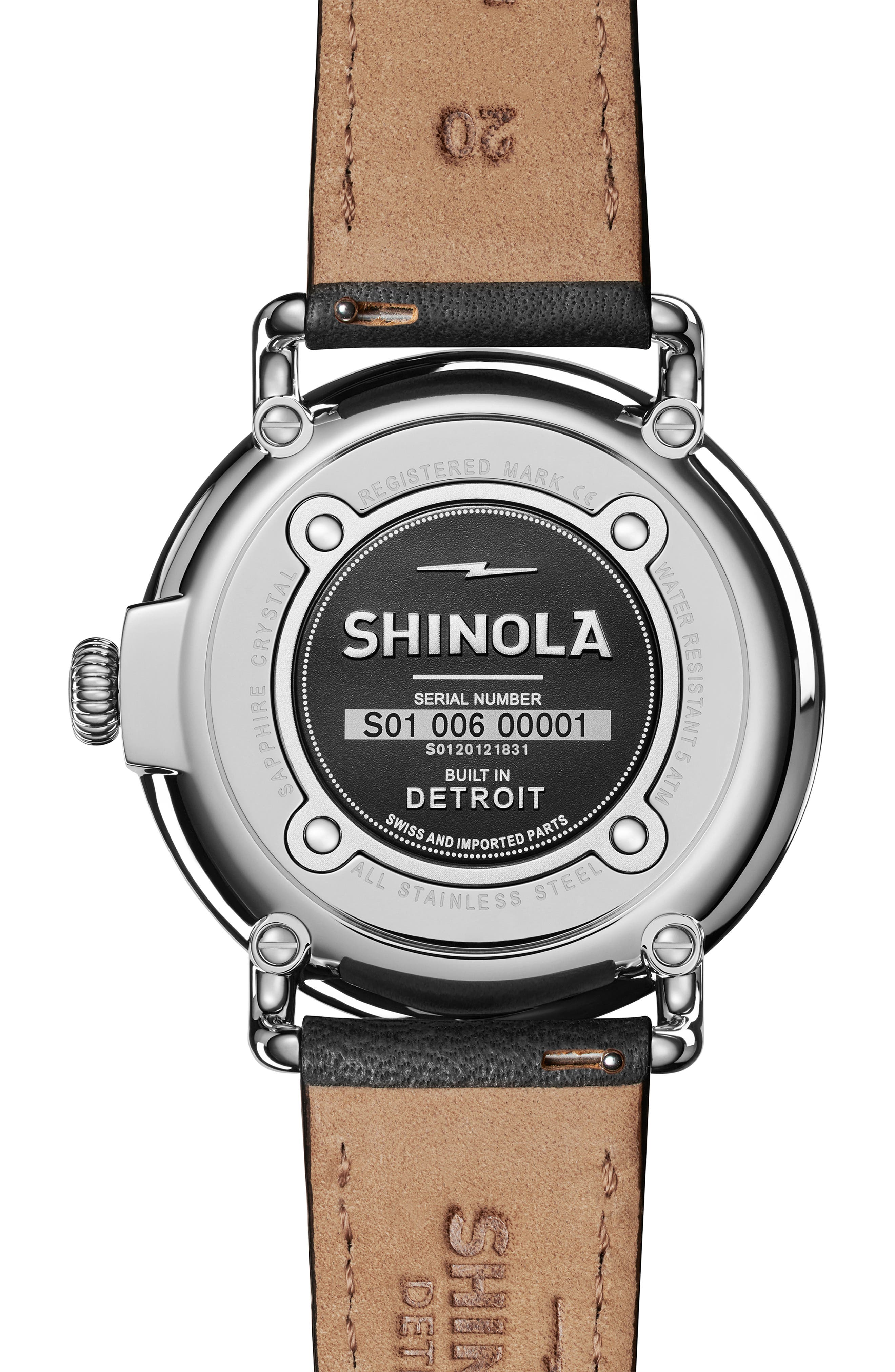 The Runwell Leather Strap Watch, 40mm,                             Alternate thumbnail 2, color,                             BLACK/ PETOSKEY STONE/ SILVER