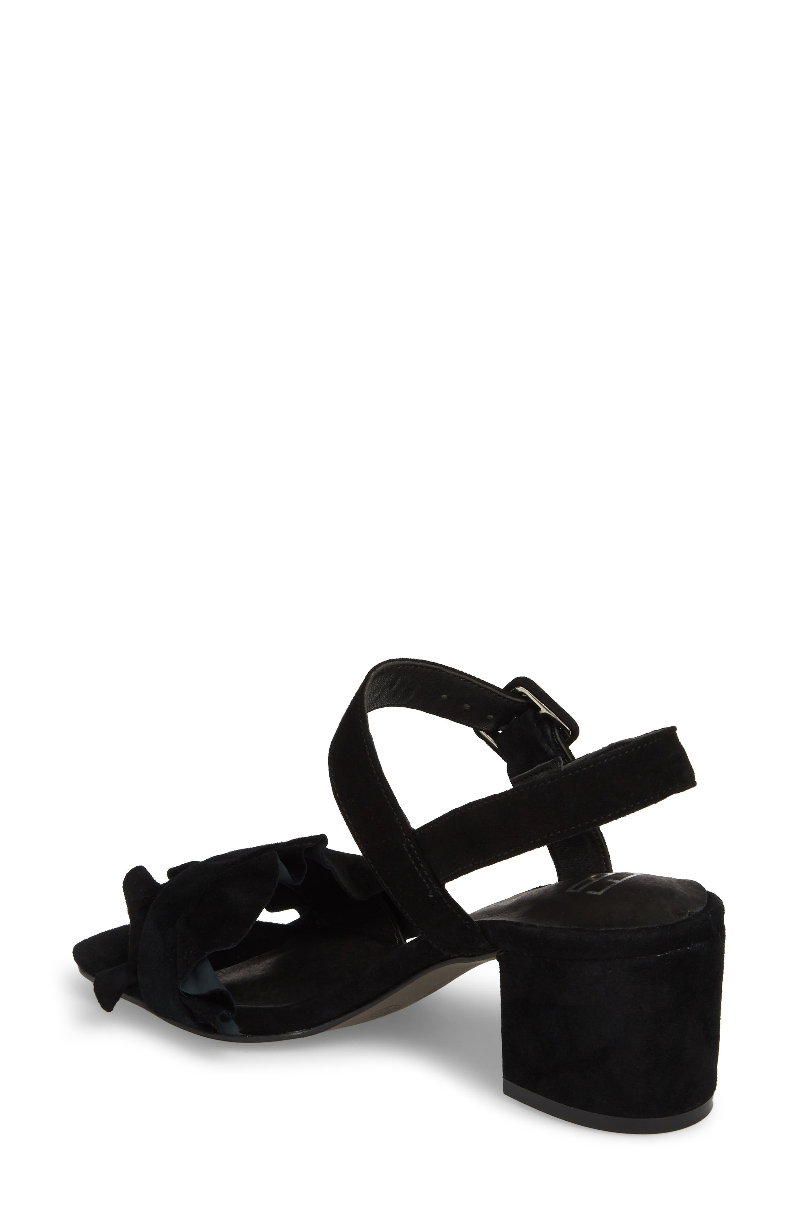 Sandie Block Heel Sandal,                             Alternate thumbnail 2, color,                             BLACK SUEDE