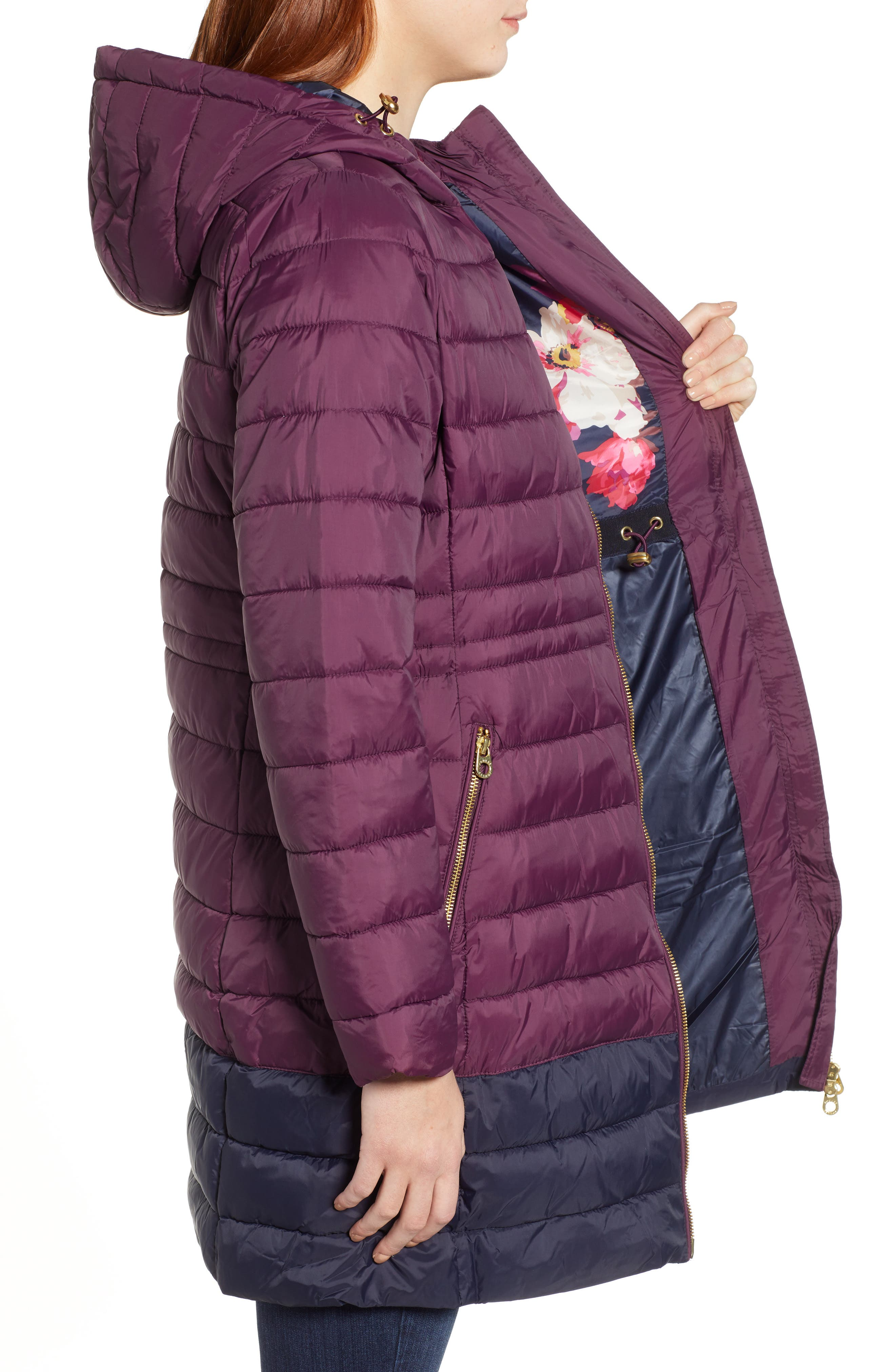 JOULES,                             Heathcote Two-Tone Puffer Jacket,                             Alternate thumbnail 4, color,                             BURGUNDY