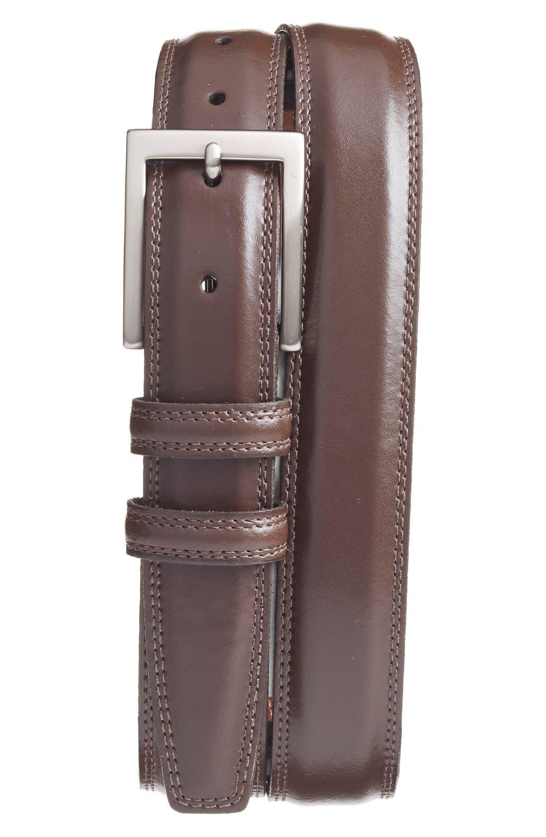 Torino Belts Aniline Leather Belt, Brown