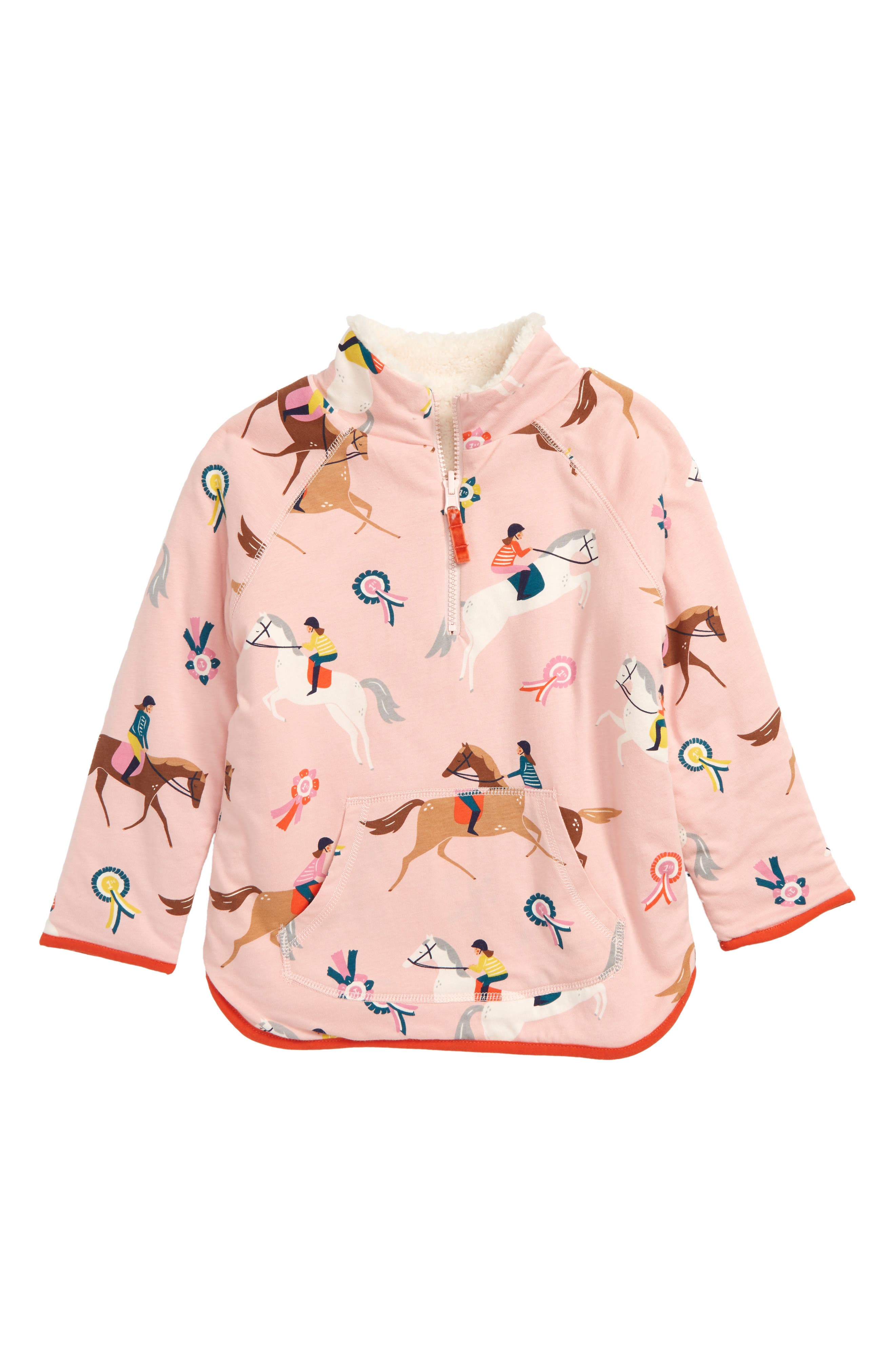 Teddy Half Zip Pullover,                         Main,                         color, PROVENCE DUSTY PINK PONIES
