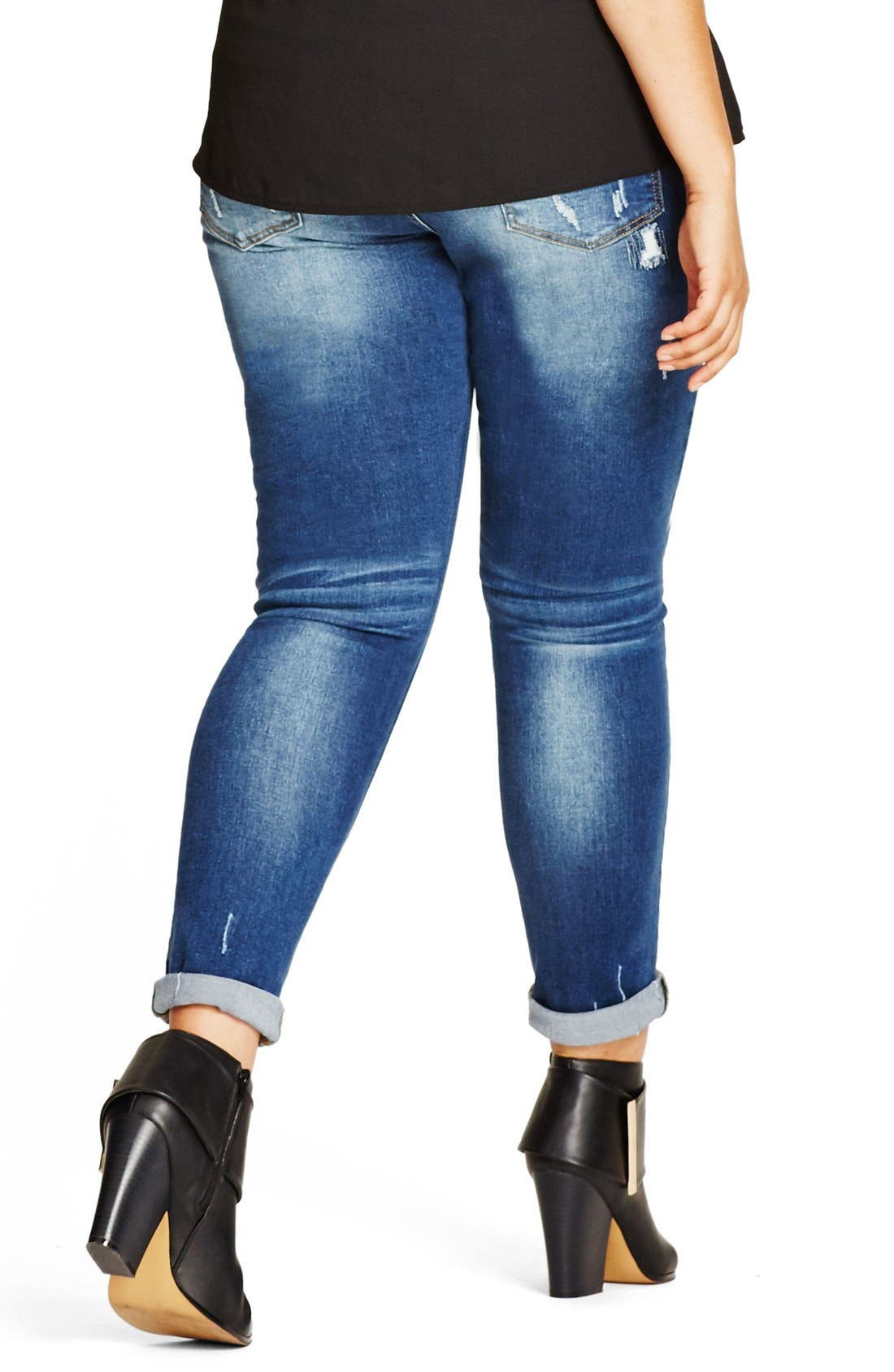 Patched Up Distressed Skinny Jeans,                             Alternate thumbnail 2, color,                             DENIM