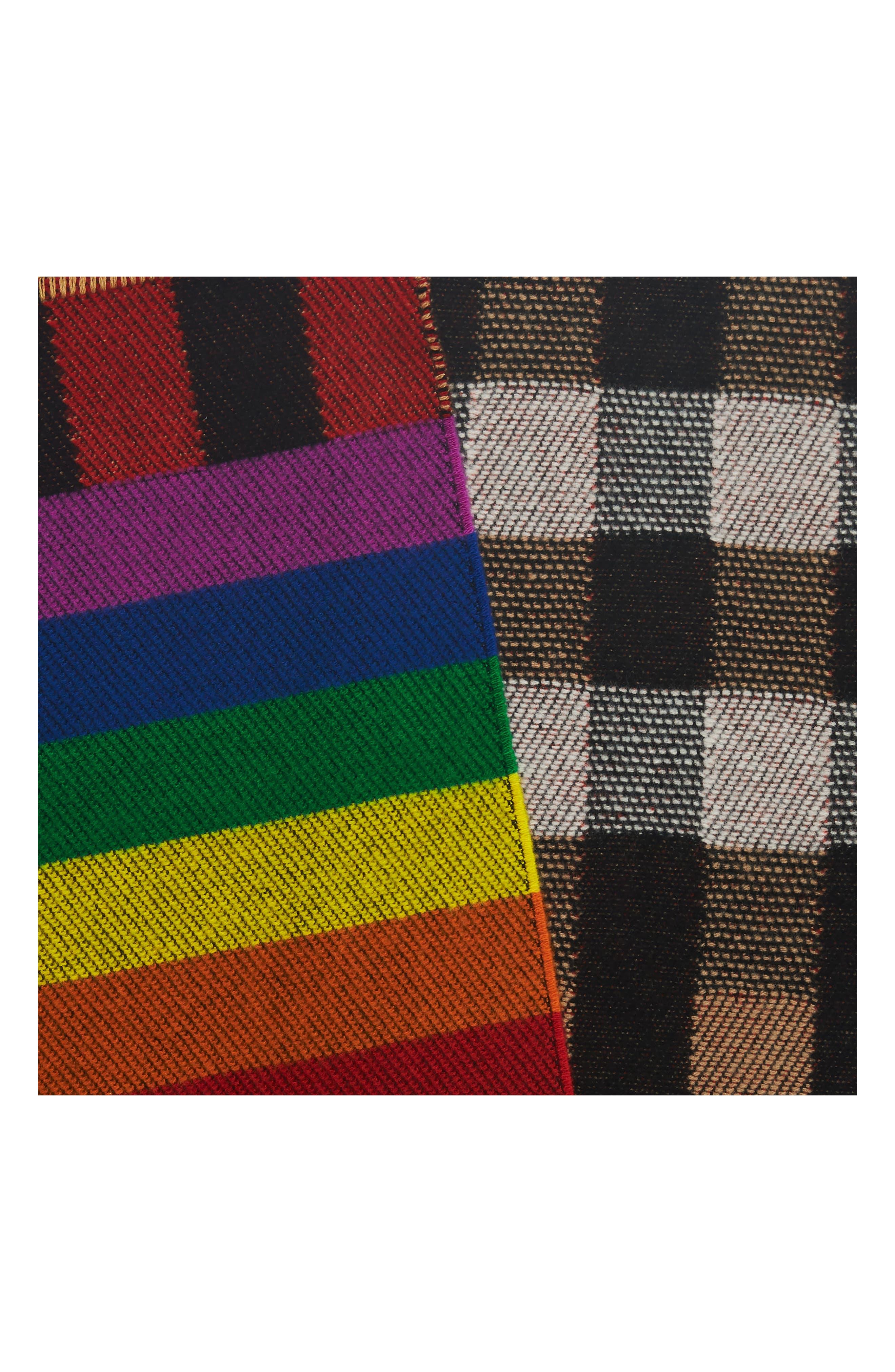 Rainbow Stripe Mega Check Cashmere Blanket Scarf,                             Alternate thumbnail 4, color,                             200