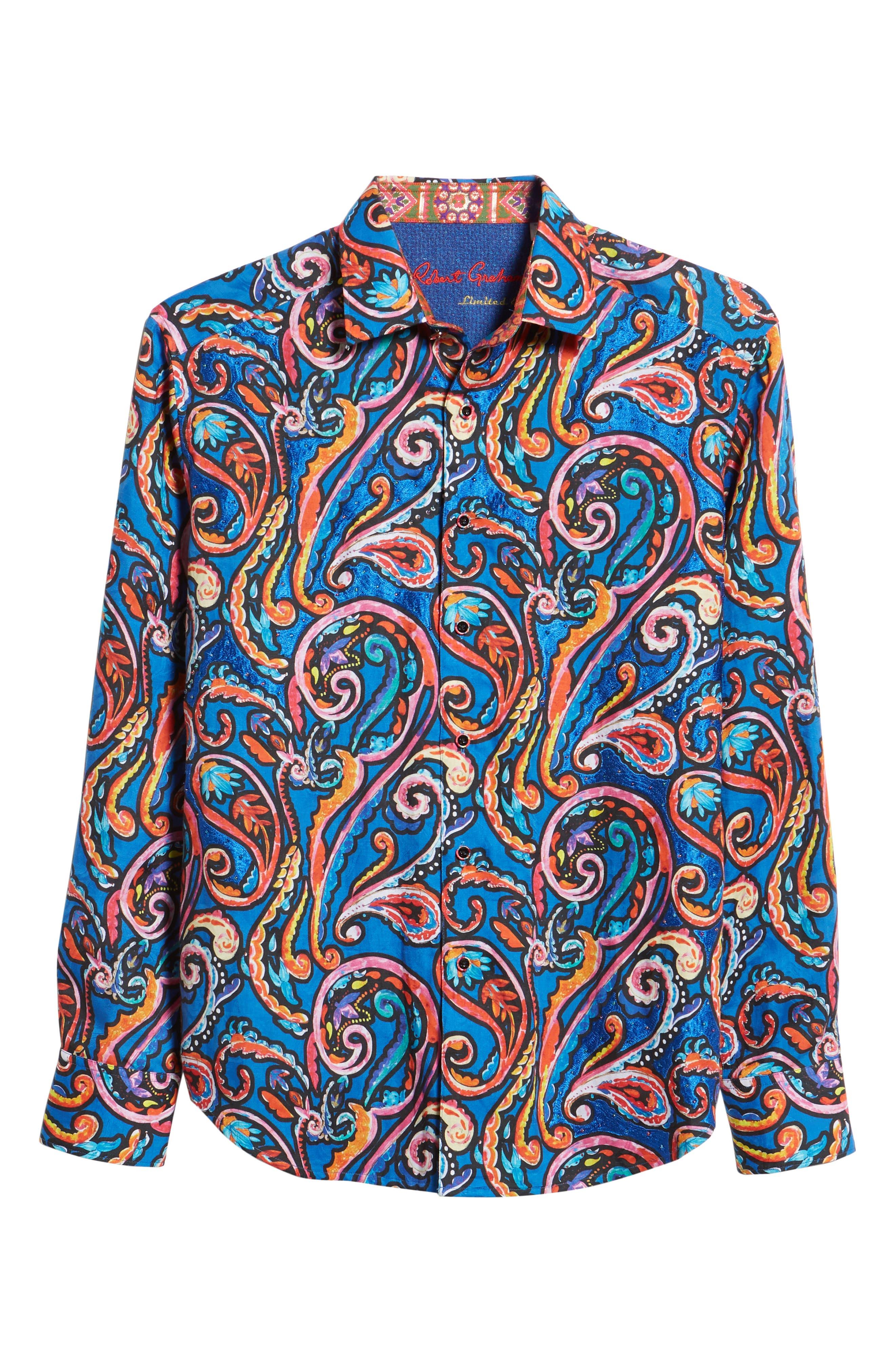 ROBERT GRAHAM,                             The Encourager Limited Edition Linen Blend Sport Shirt,                             Alternate thumbnail 5, color,                             400