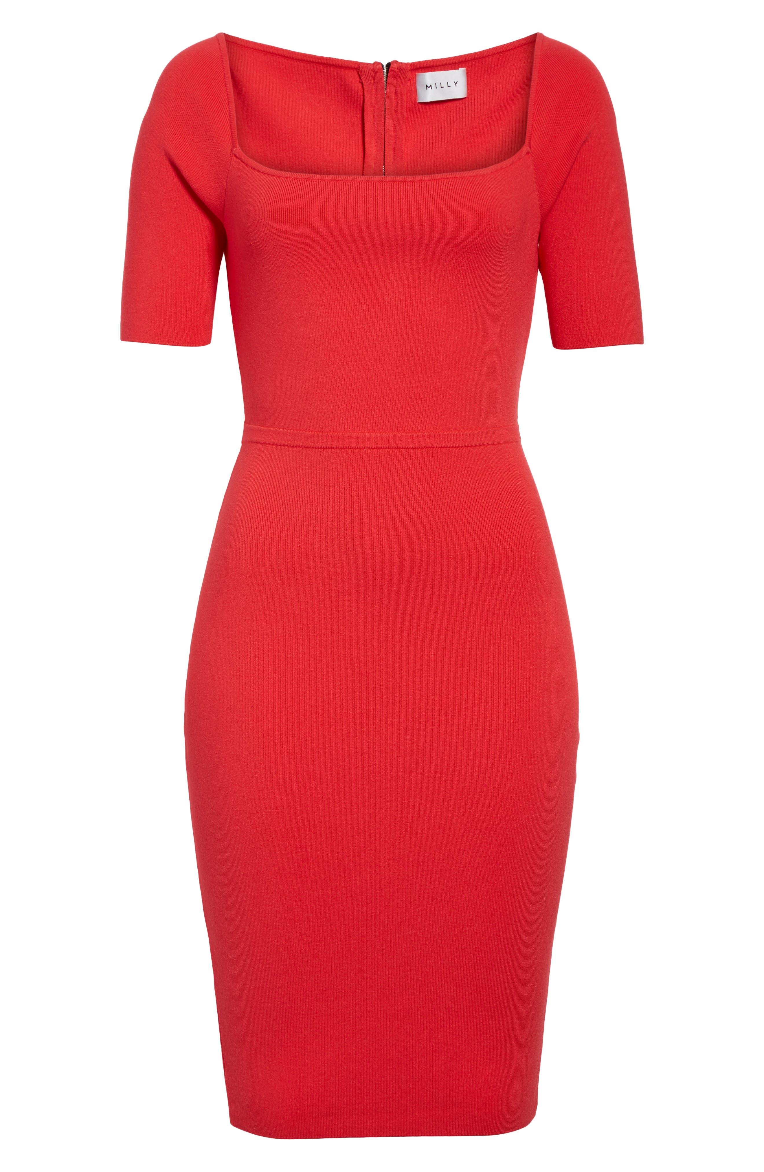 Square Neck Sheath Dress,                             Alternate thumbnail 6, color,
