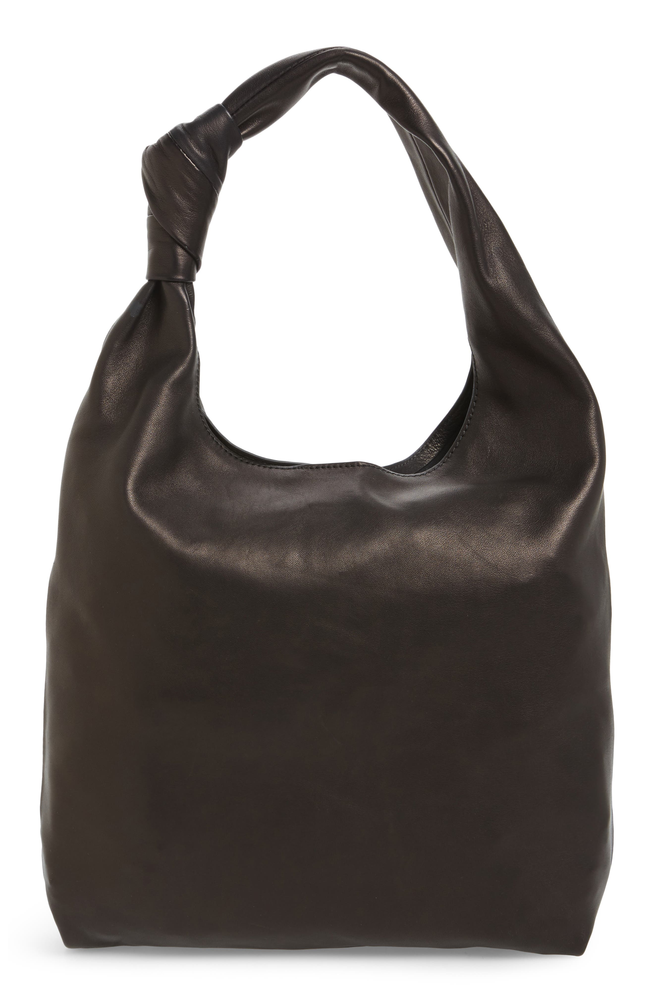 Knot Leather Tote,                             Main thumbnail 1, color,                             001