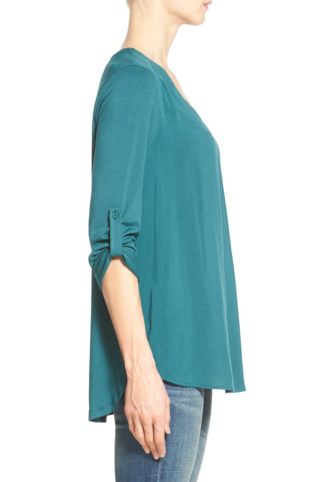 Mixed Media V-Neck Tunic,                             Alternate thumbnail 190, color,