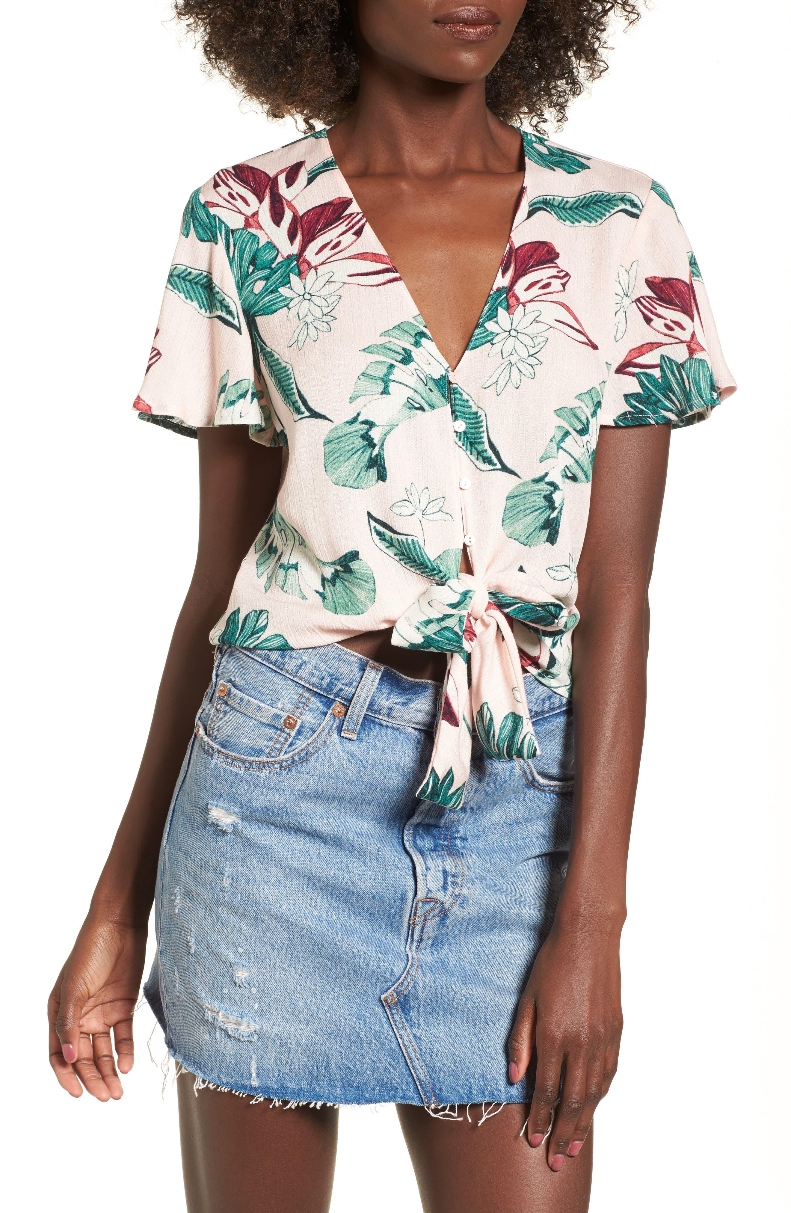 Knot Front Shirt,                             Main thumbnail 3, color,