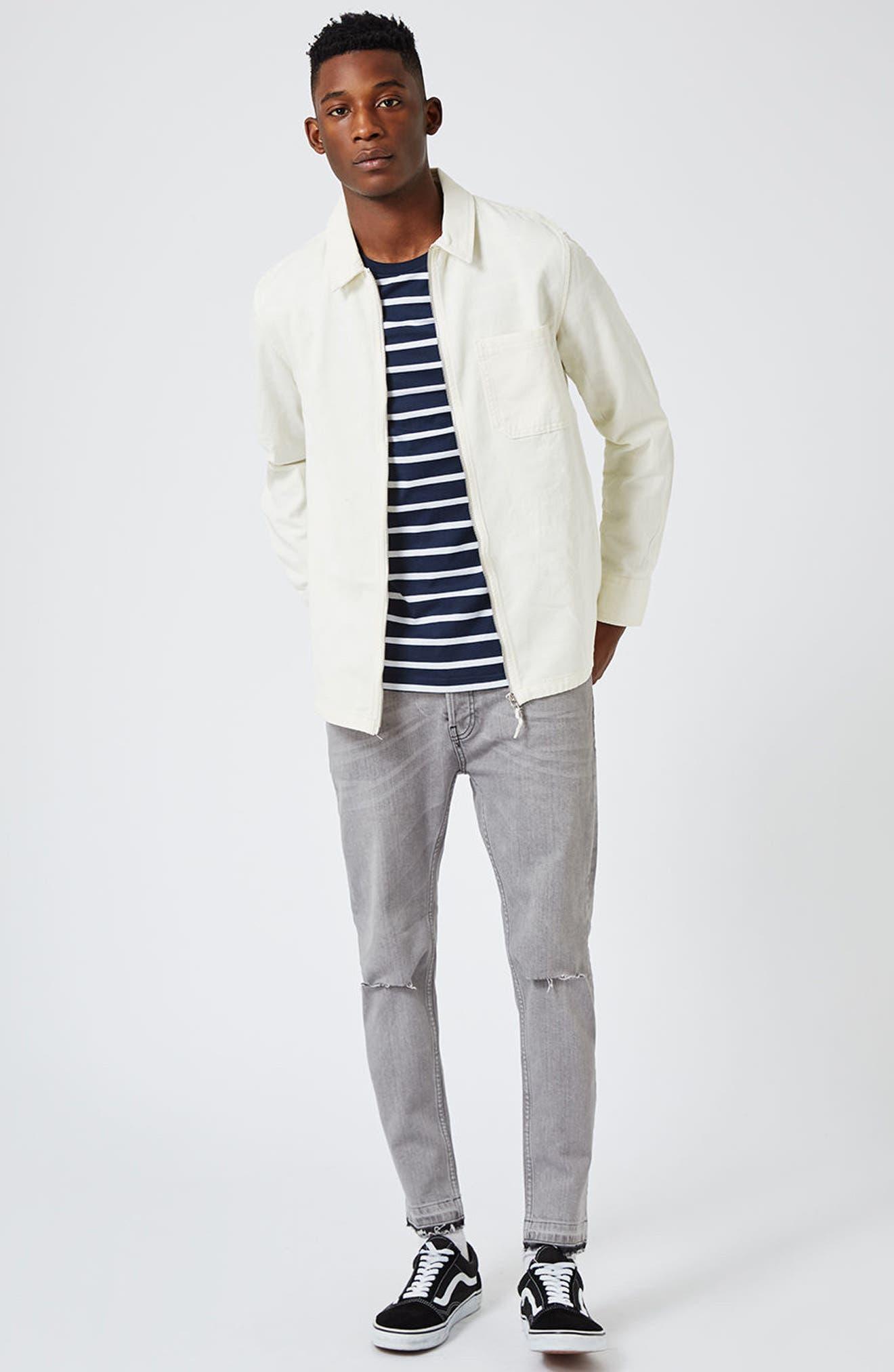 Stripe Slim Fit Long Sleeve T-Shirt,                             Alternate thumbnail 4, color,                             401