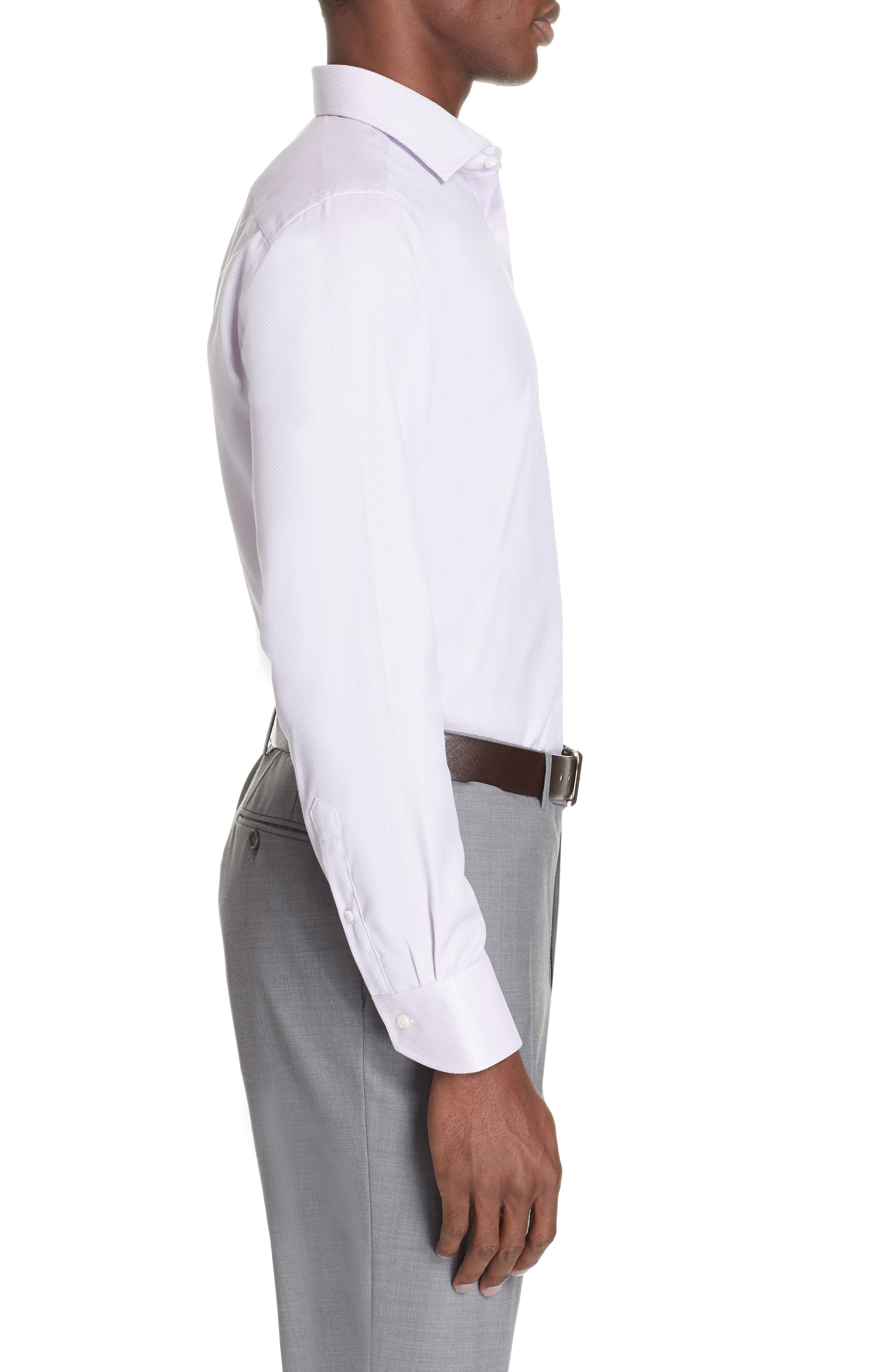 Trim Fit Solid Dress Shirt,                             Alternate thumbnail 4, color,                             LIGHT PINK