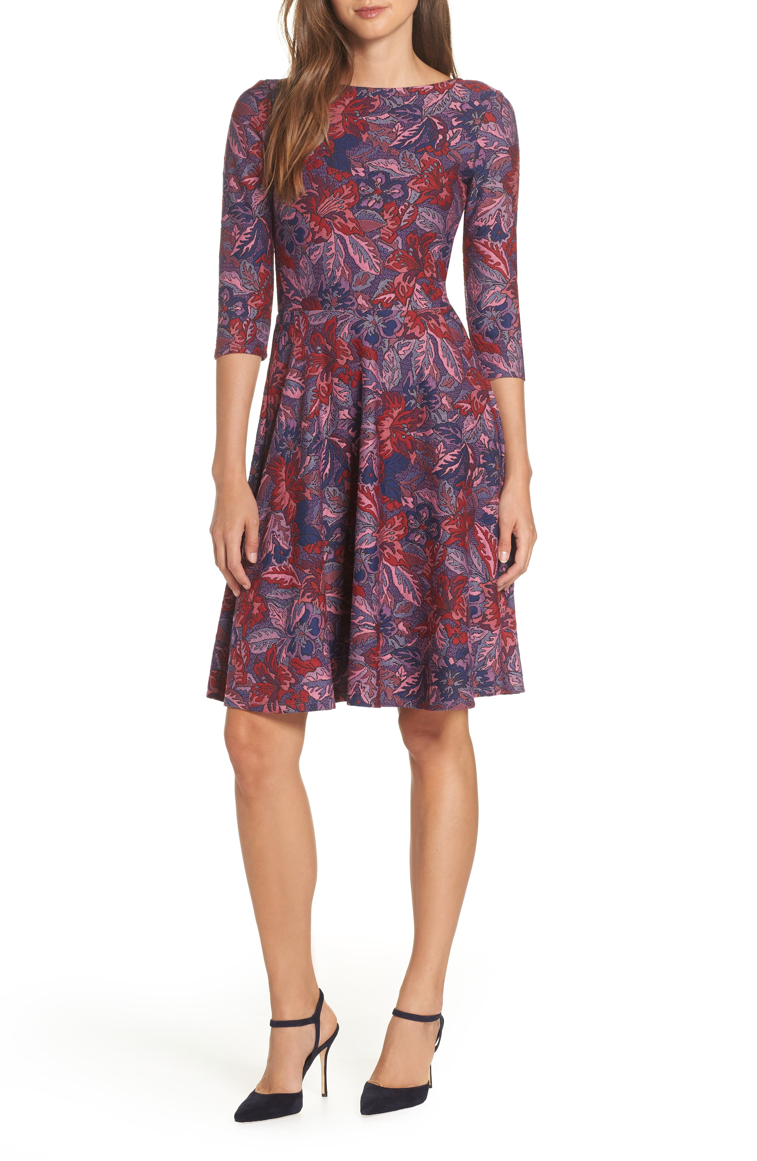 Leota Belted Print Jersey A-Line Dress, Purple