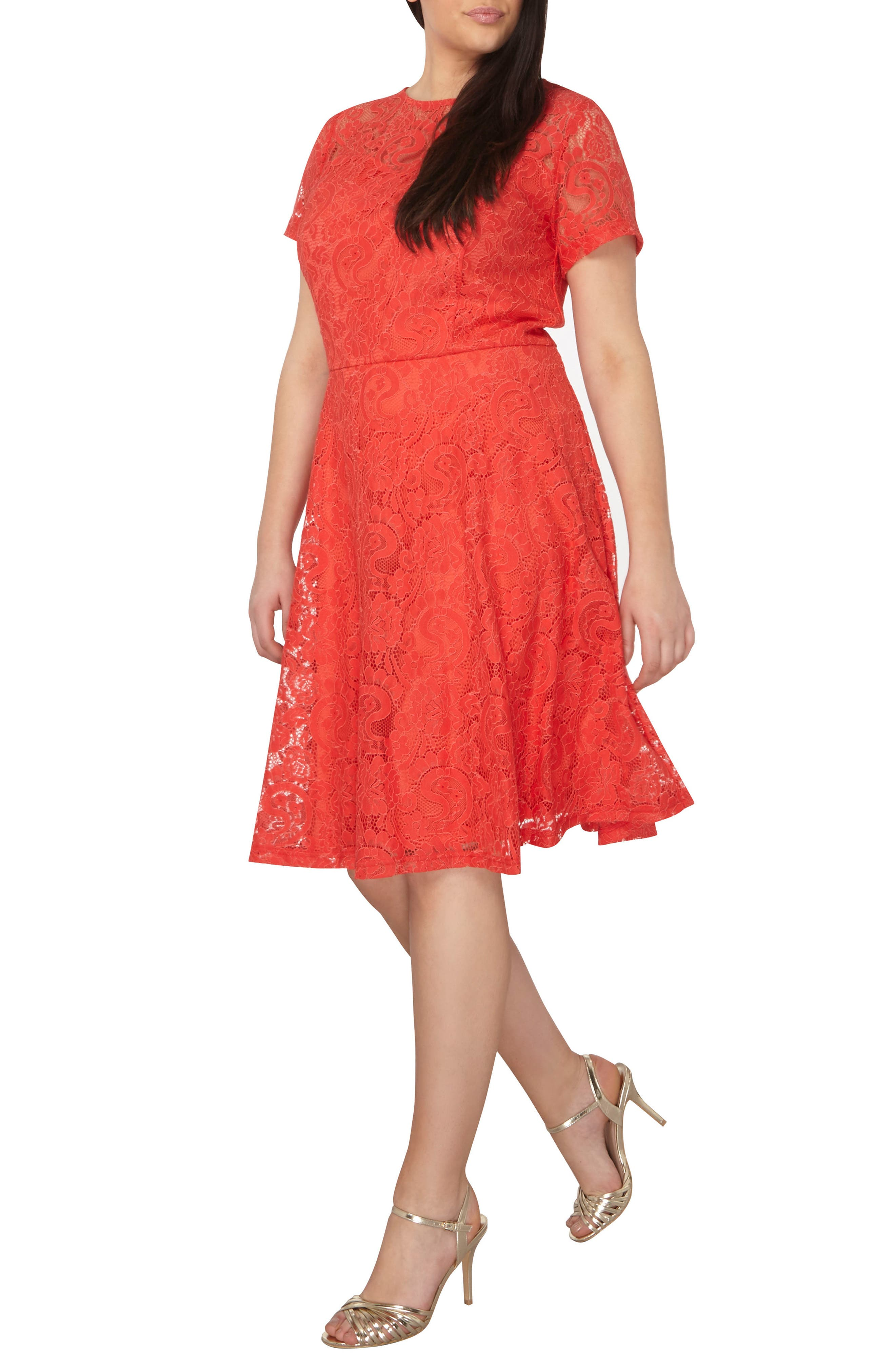 Lace Fit & Flare Dress,                             Alternate thumbnail 6, color,                             620