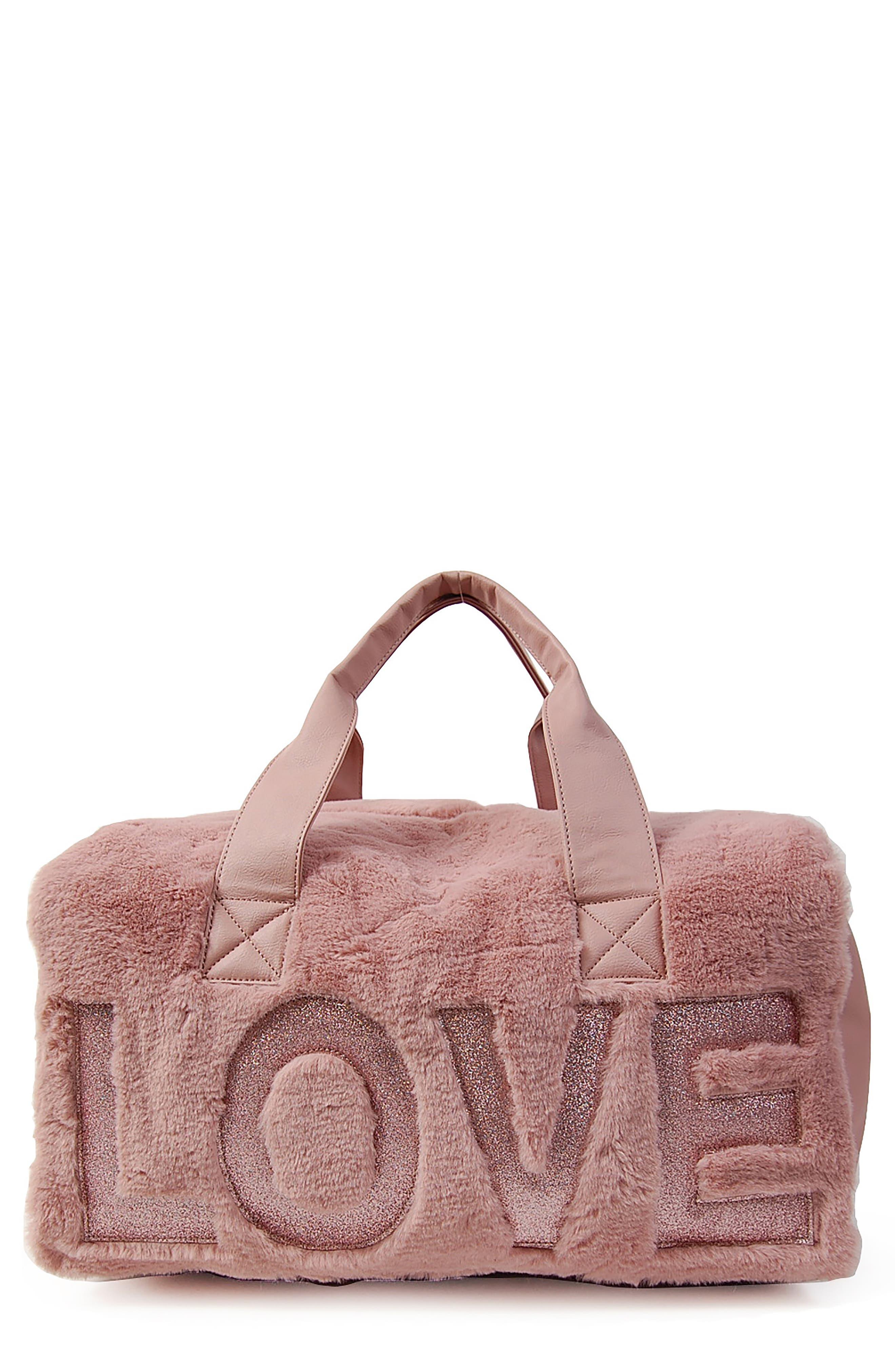 Love Faux Fur Duffel Tote,                         Main,                         color, BLUSH