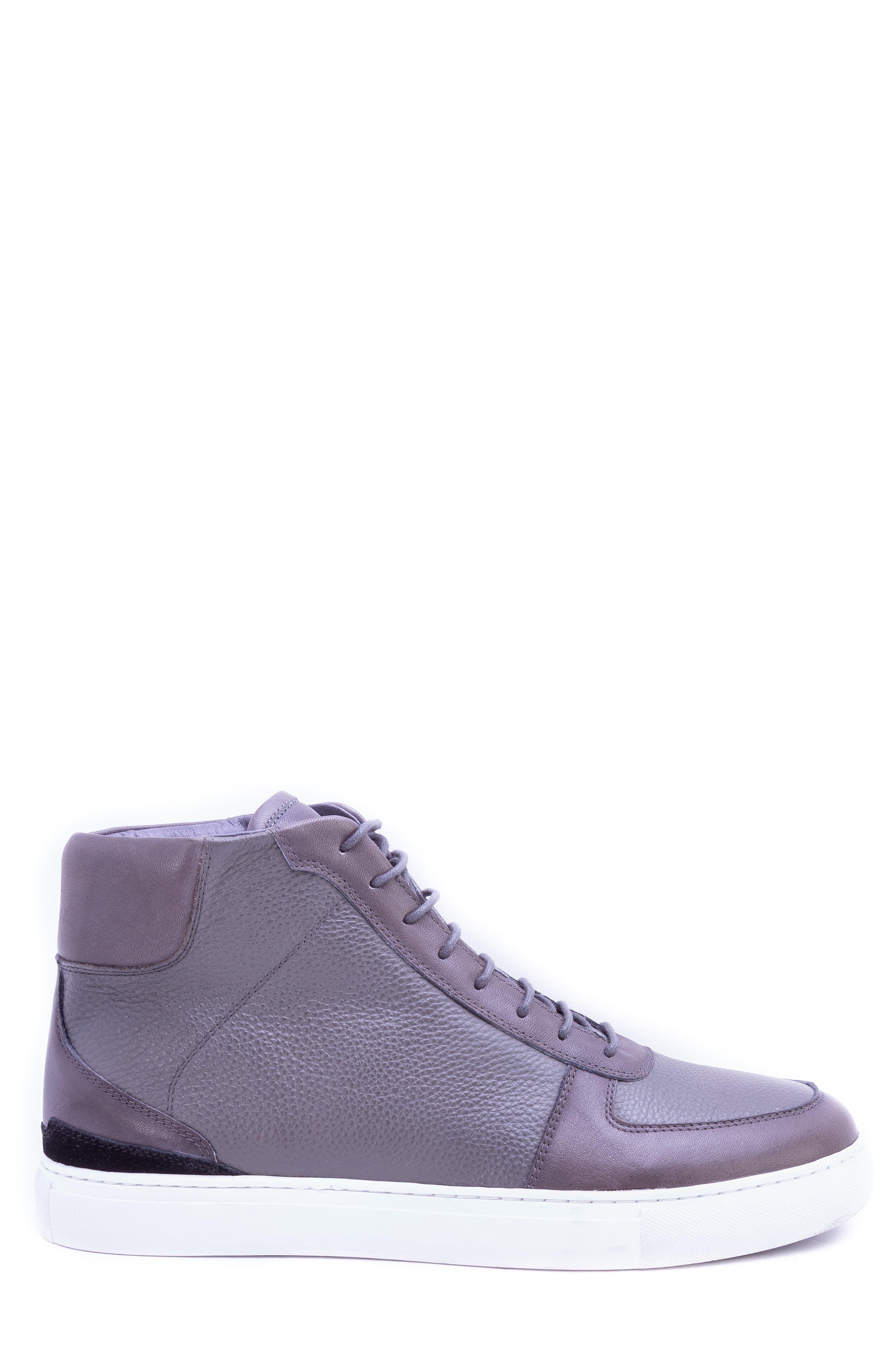 Tassel High Top Sneaker,                             Alternate thumbnail 3, color,                             GREY LEATHER