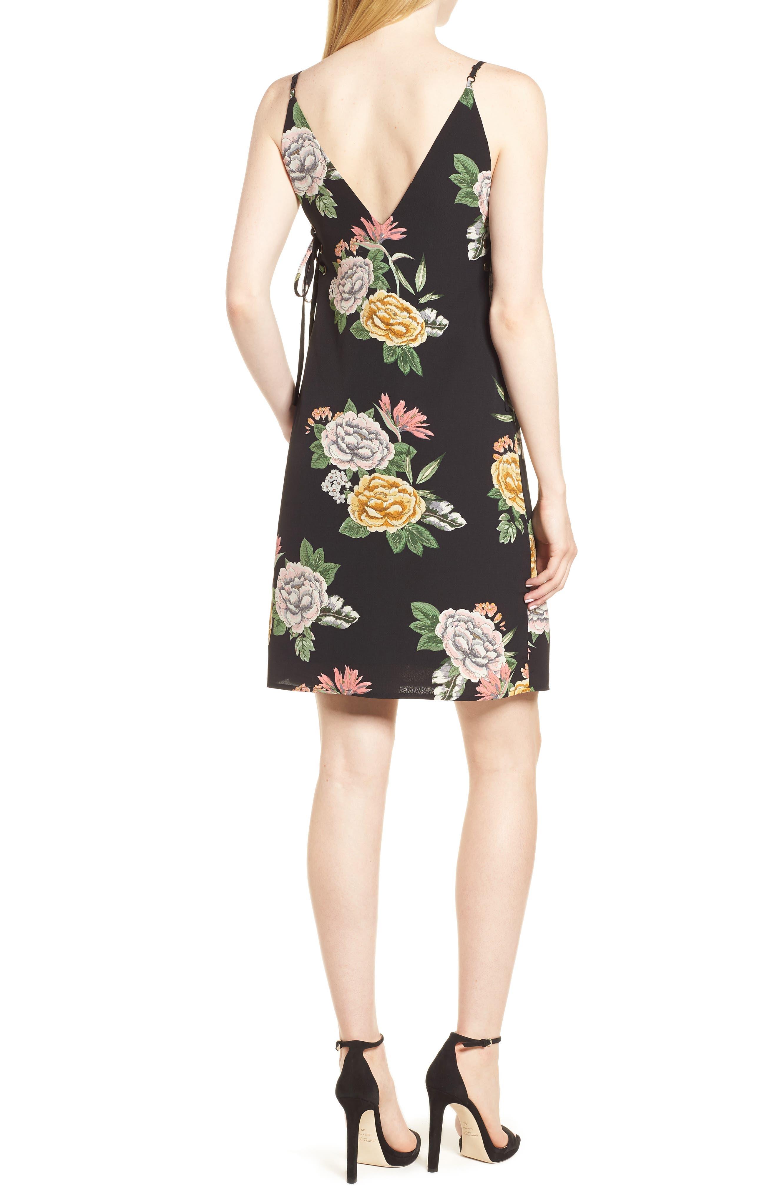 Enchanted Garden Lace-Up Dress,                             Alternate thumbnail 2, color,                             ENCHANTED GARDEN PRINT
