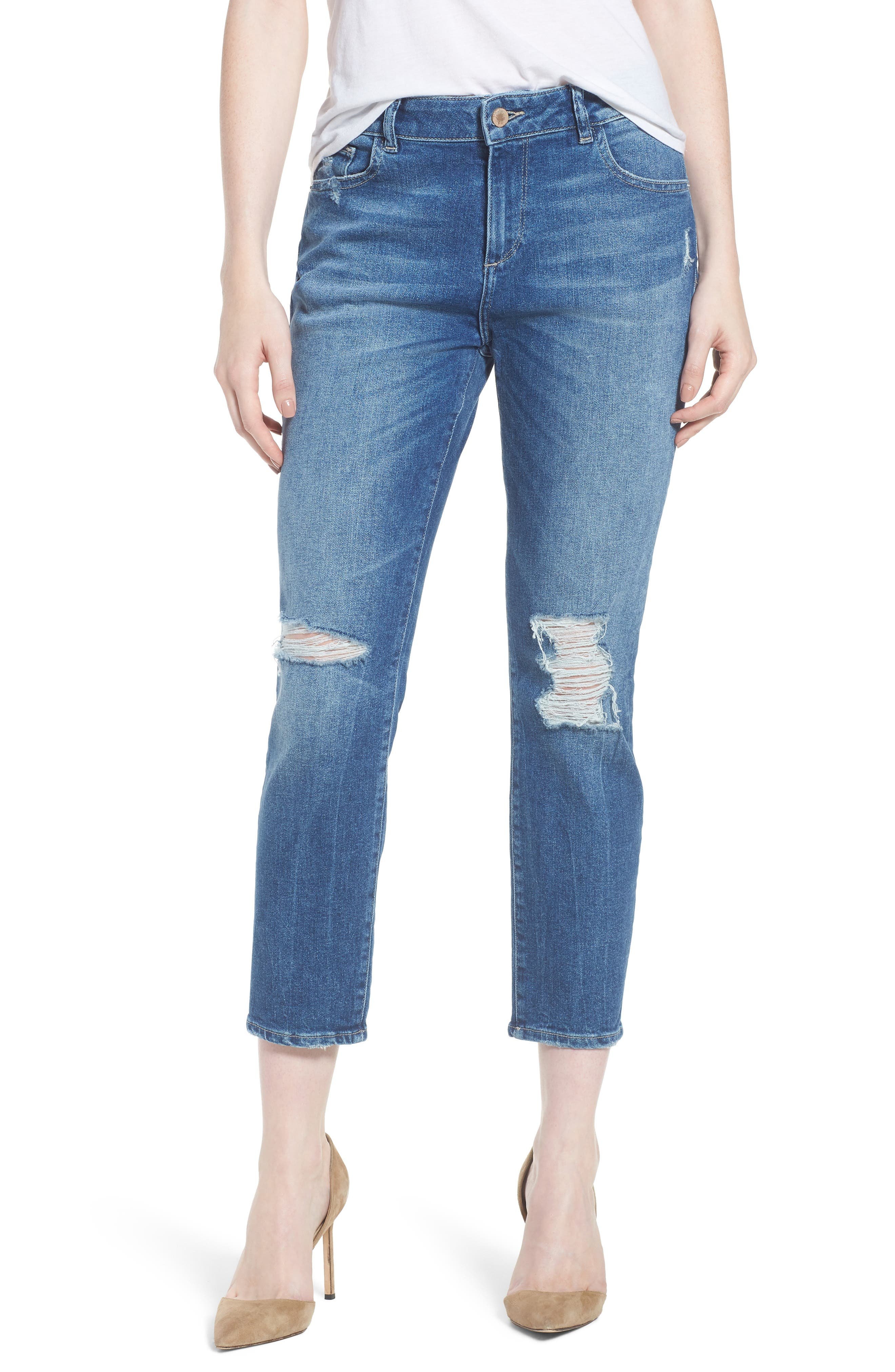 Stevie Distressed Crop Slim Boyfriend Jeans,                         Main,                         color, REBEL