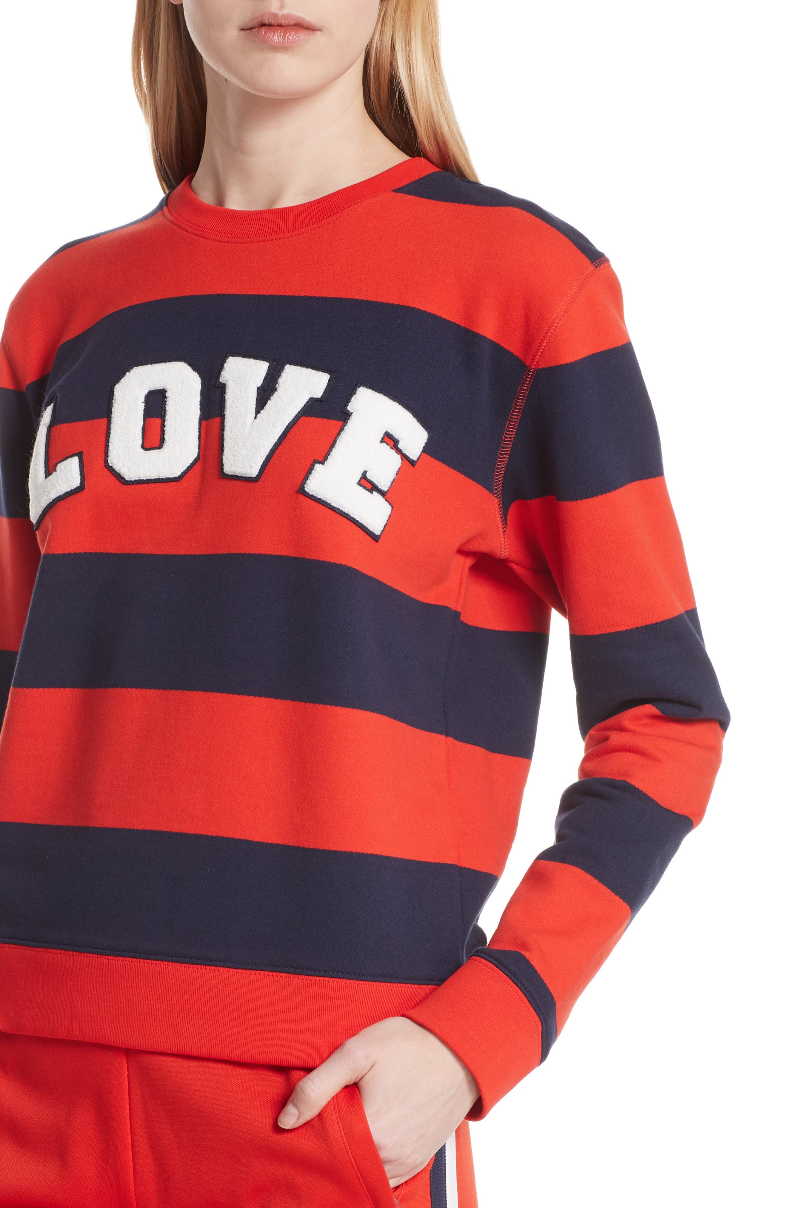 Love Stripe Sweatshirt,                             Alternate thumbnail 4, color,                             RED BROAD STRIPE