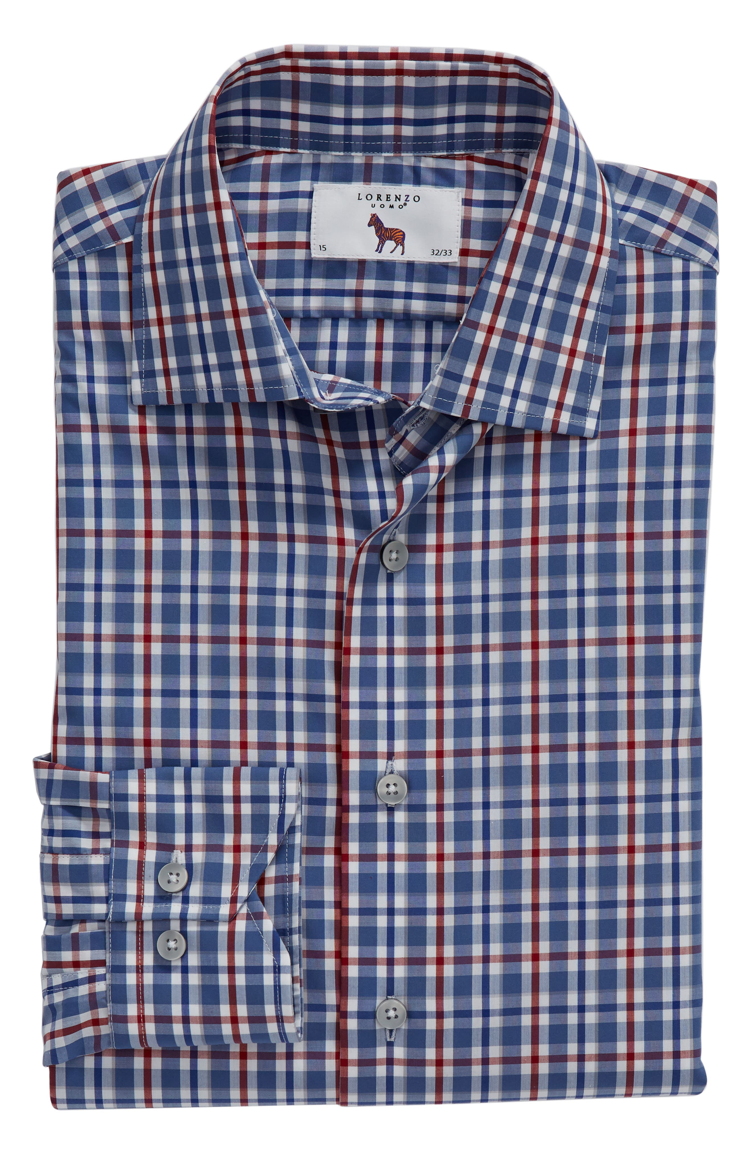 Trim Fit Plaid Dress Shirt,                             Alternate thumbnail 5, color,                             410