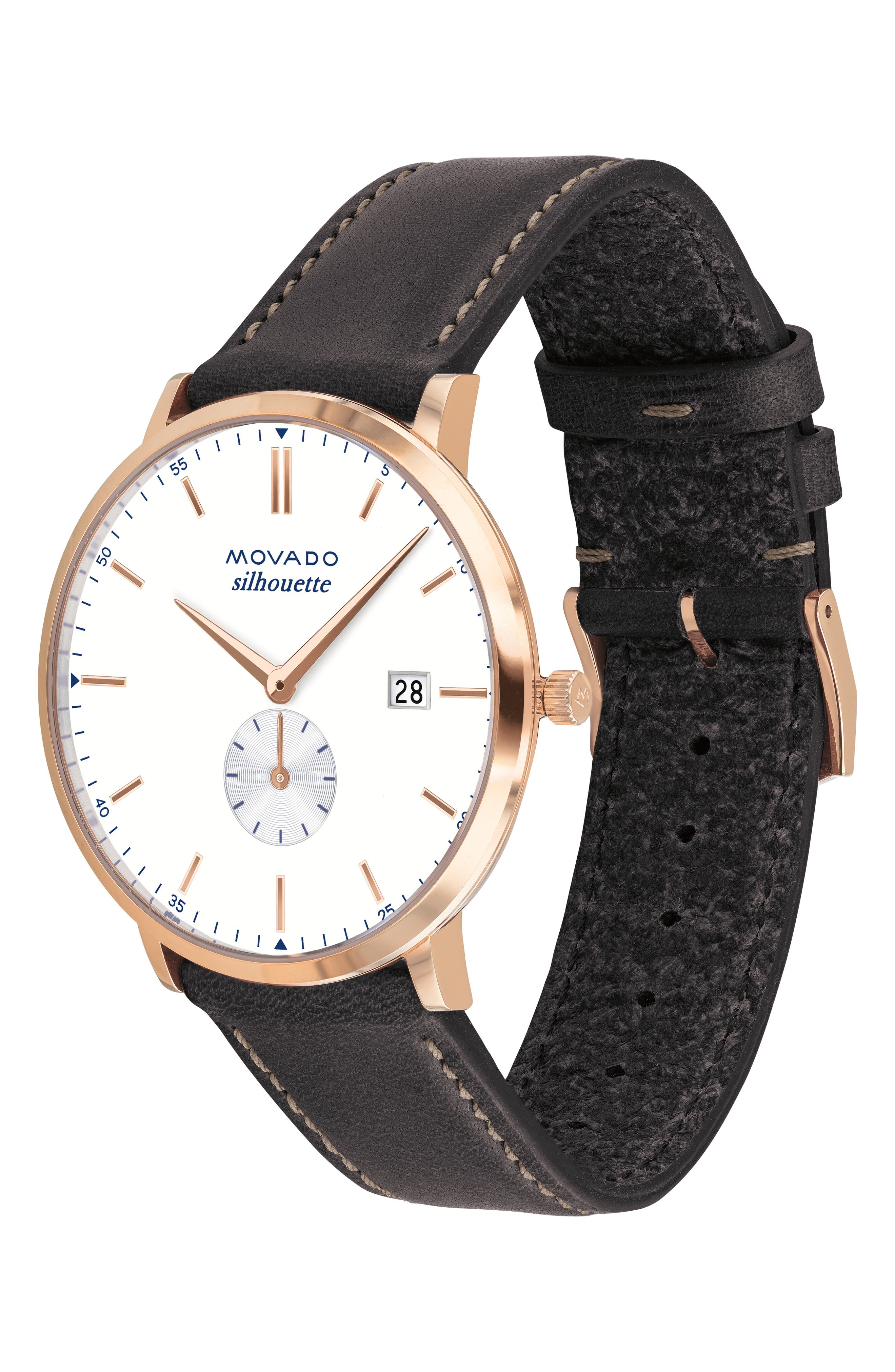 Heritage Silhouette Leather Strap Watch, 40mm,                             Alternate thumbnail 3, color,                             CHOCOLATE/ WHITE/ ROSE GOLD