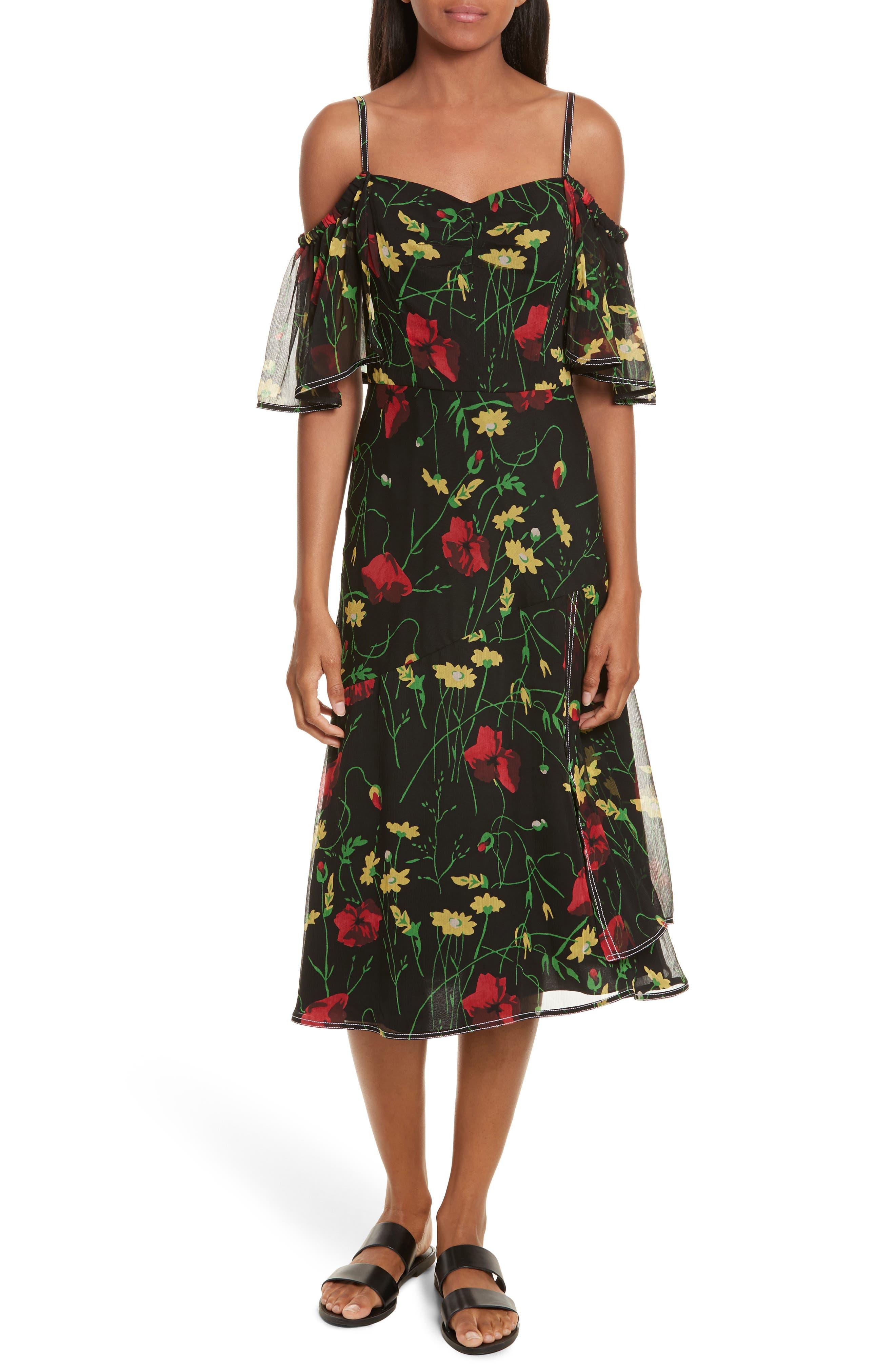 Print Chiffon Off the Shoulder Dress,                         Main,                         color, 001