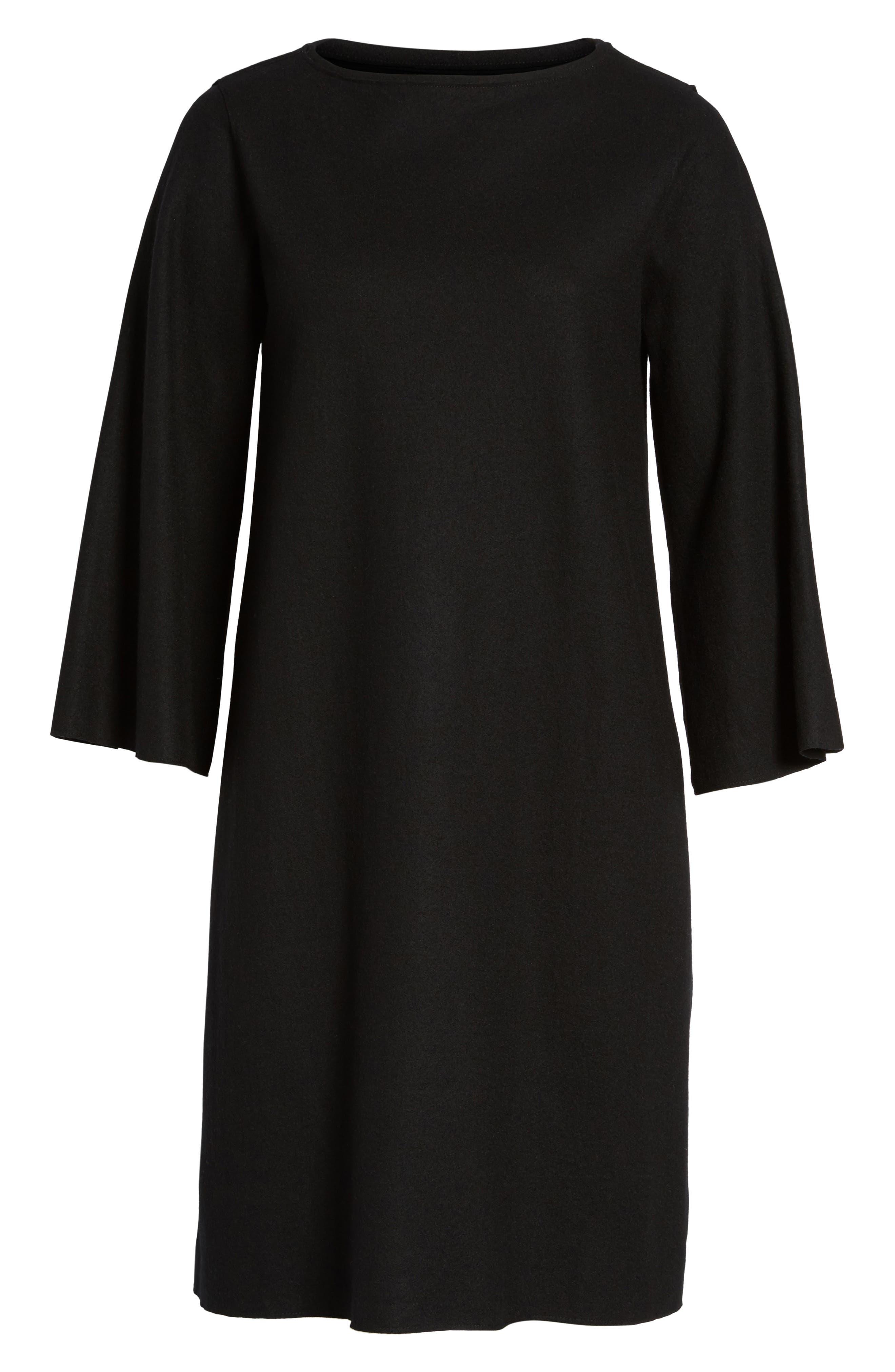 Bell Sleeve Dress,                             Alternate thumbnail 6, color,                             001