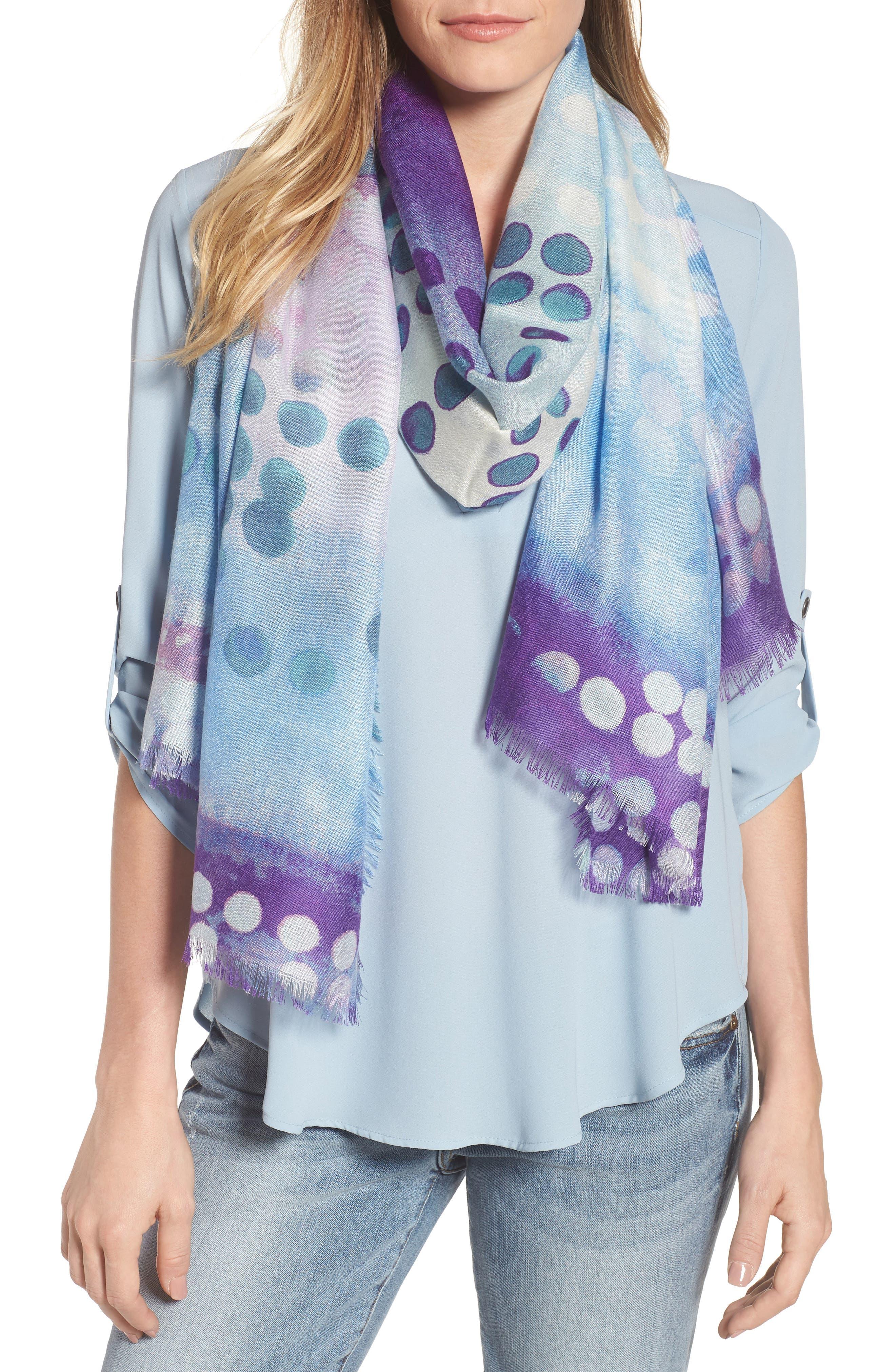 Eyelash Trim Print Cashmere & Silk Wrap,                             Main thumbnail 20, color,