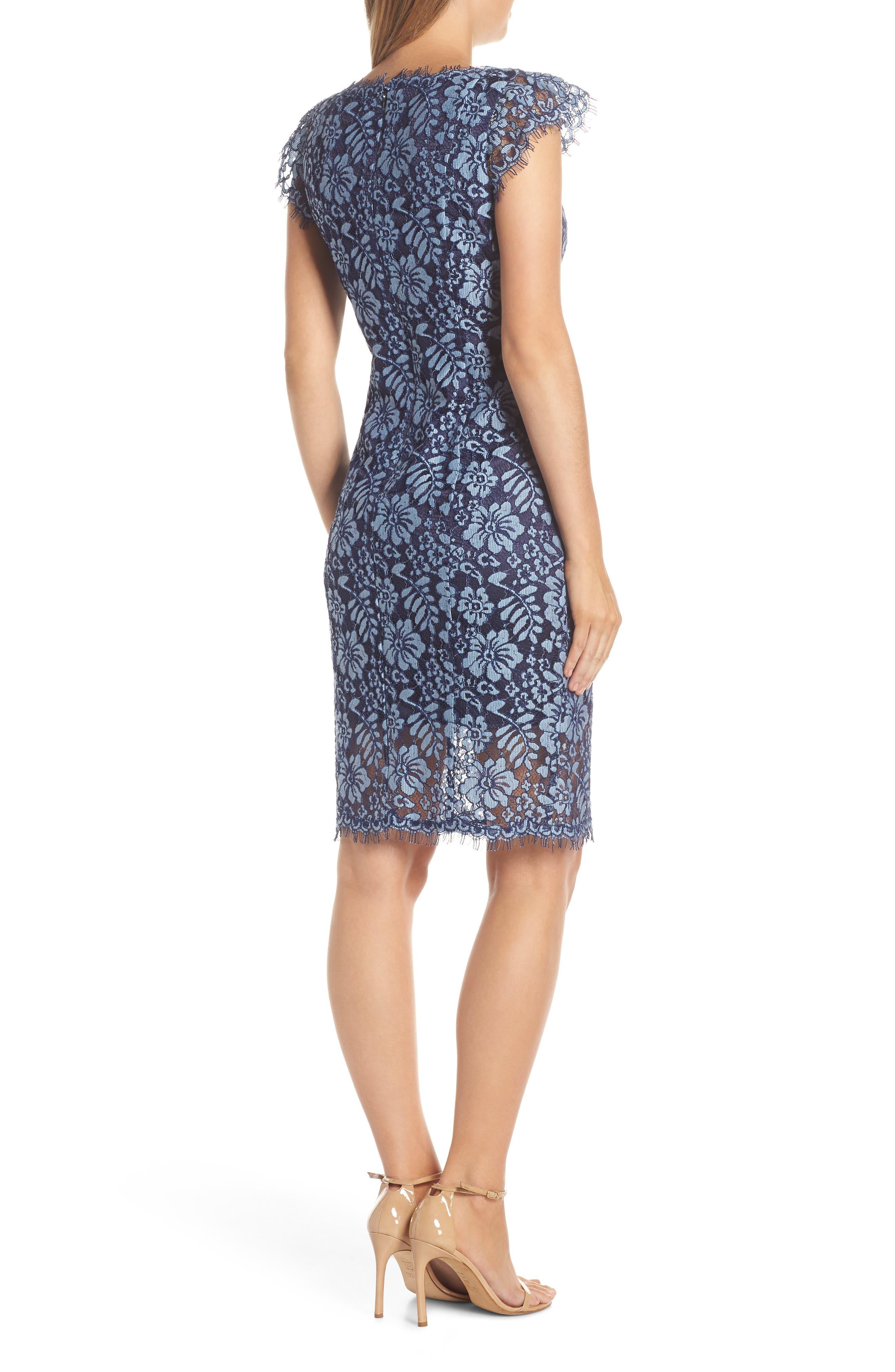 ELIZA J,                             Floral Lace Sheath Dress,                             Alternate thumbnail 2, color,                             NAVY