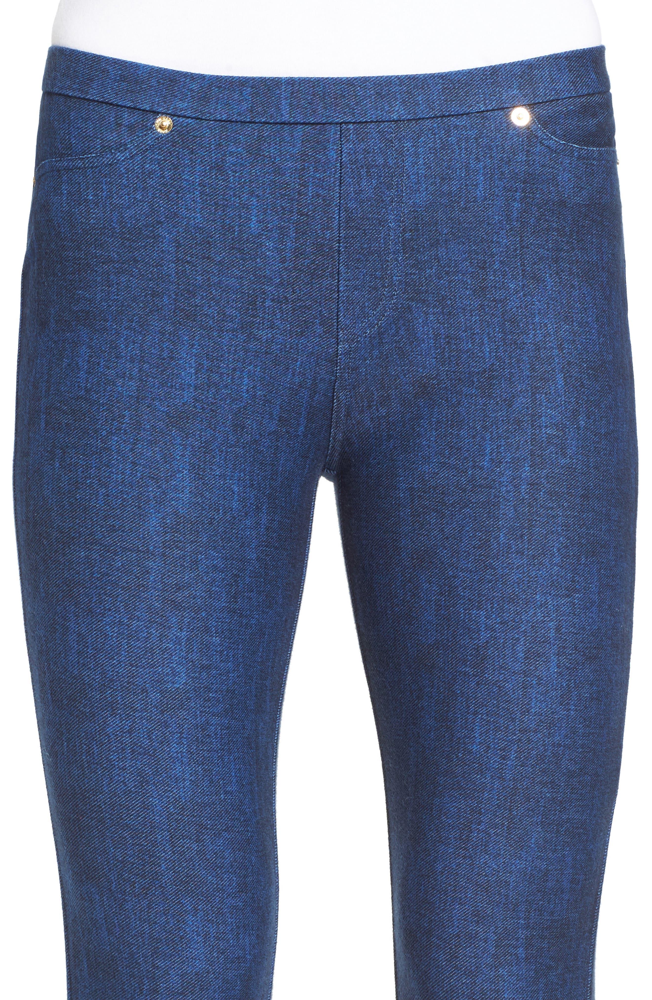 Michael Kors Denim Leggings,                             Alternate thumbnail 4, color,                             BLUE INDIGO