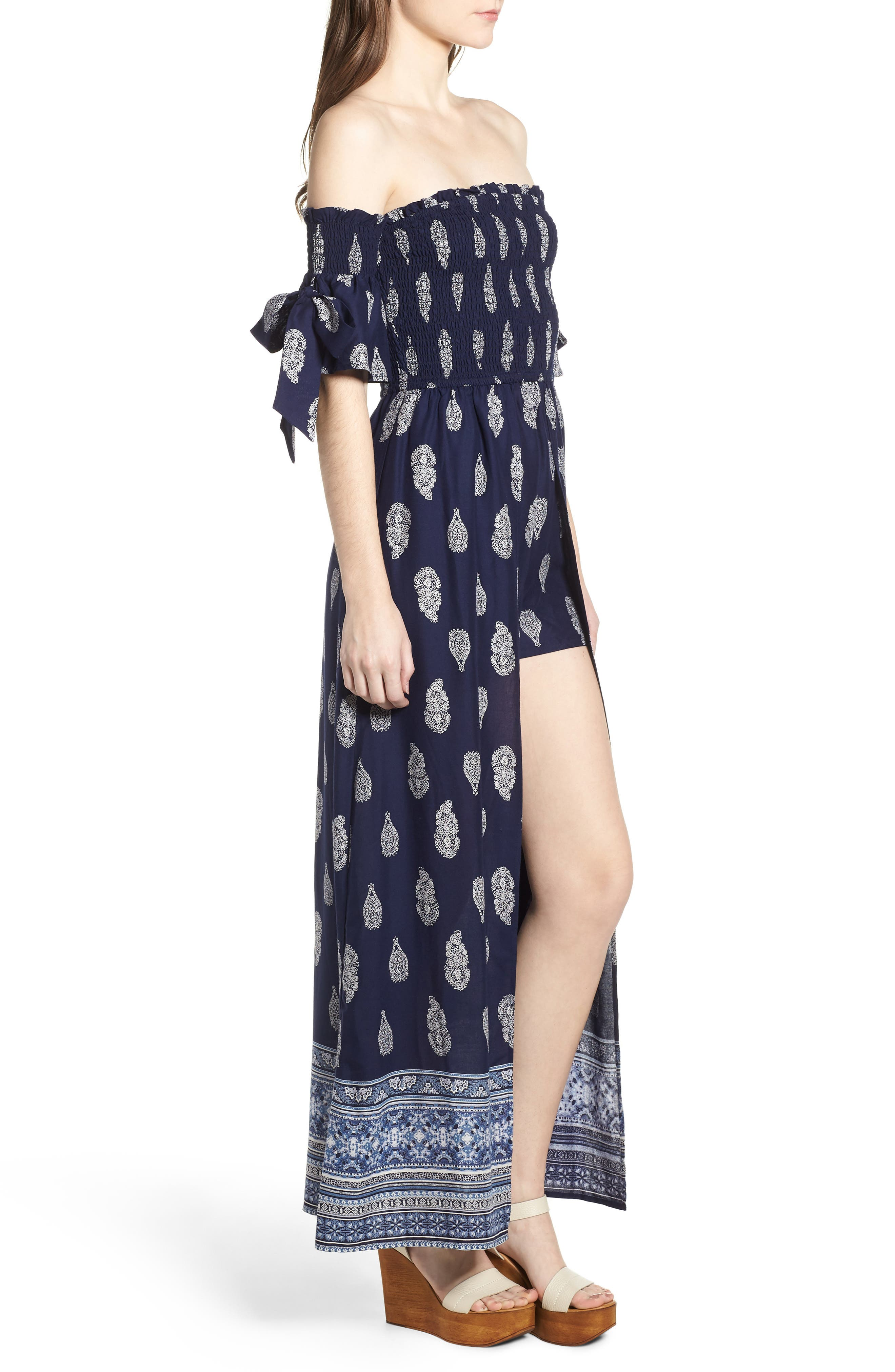 BAND OF GYPSIES,                             Summer Bloom Smocked Maxi Romper,                             Alternate thumbnail 4, color,                             400