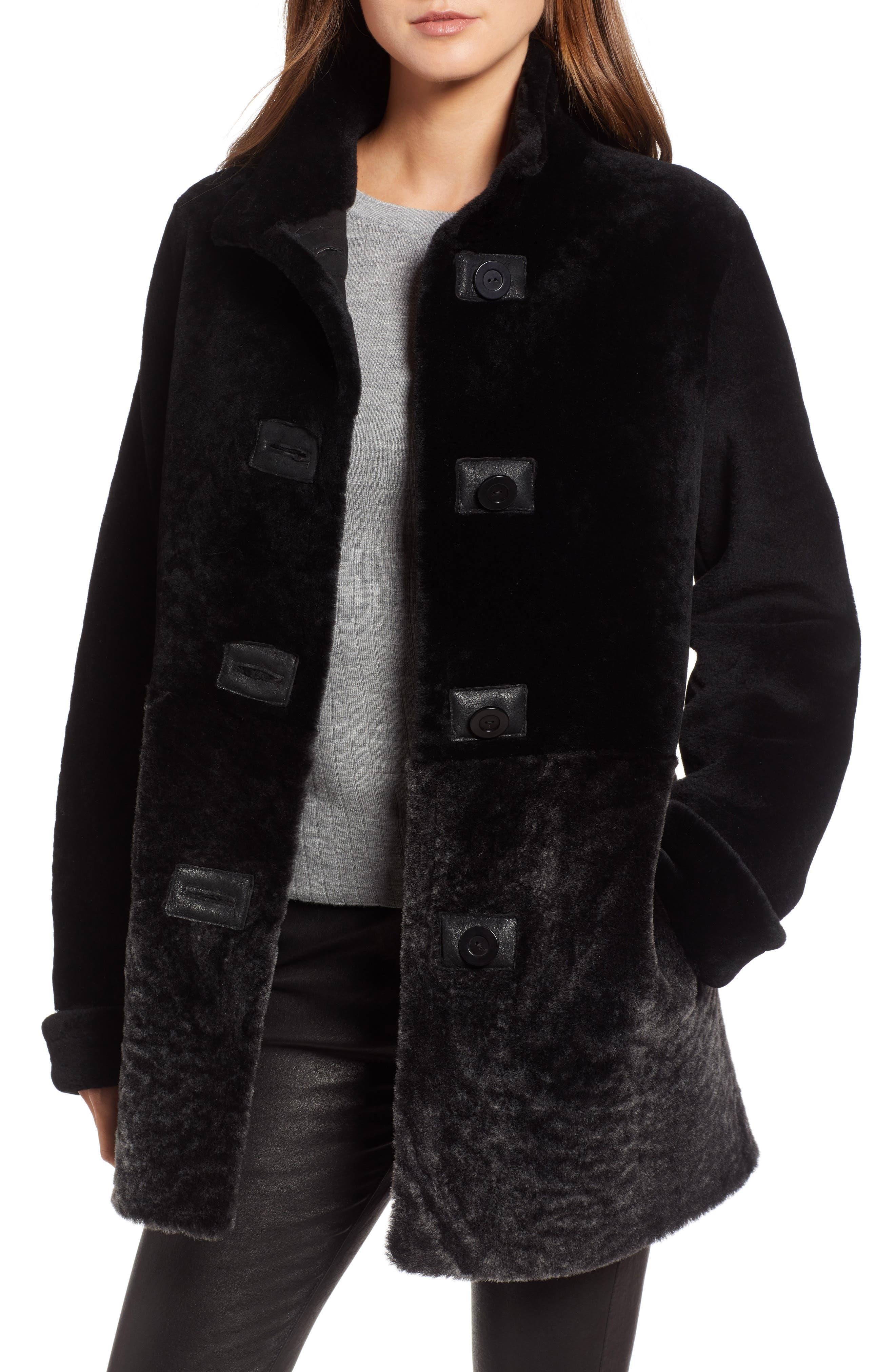 Blue Duck Genuine Shearling Coat, Black