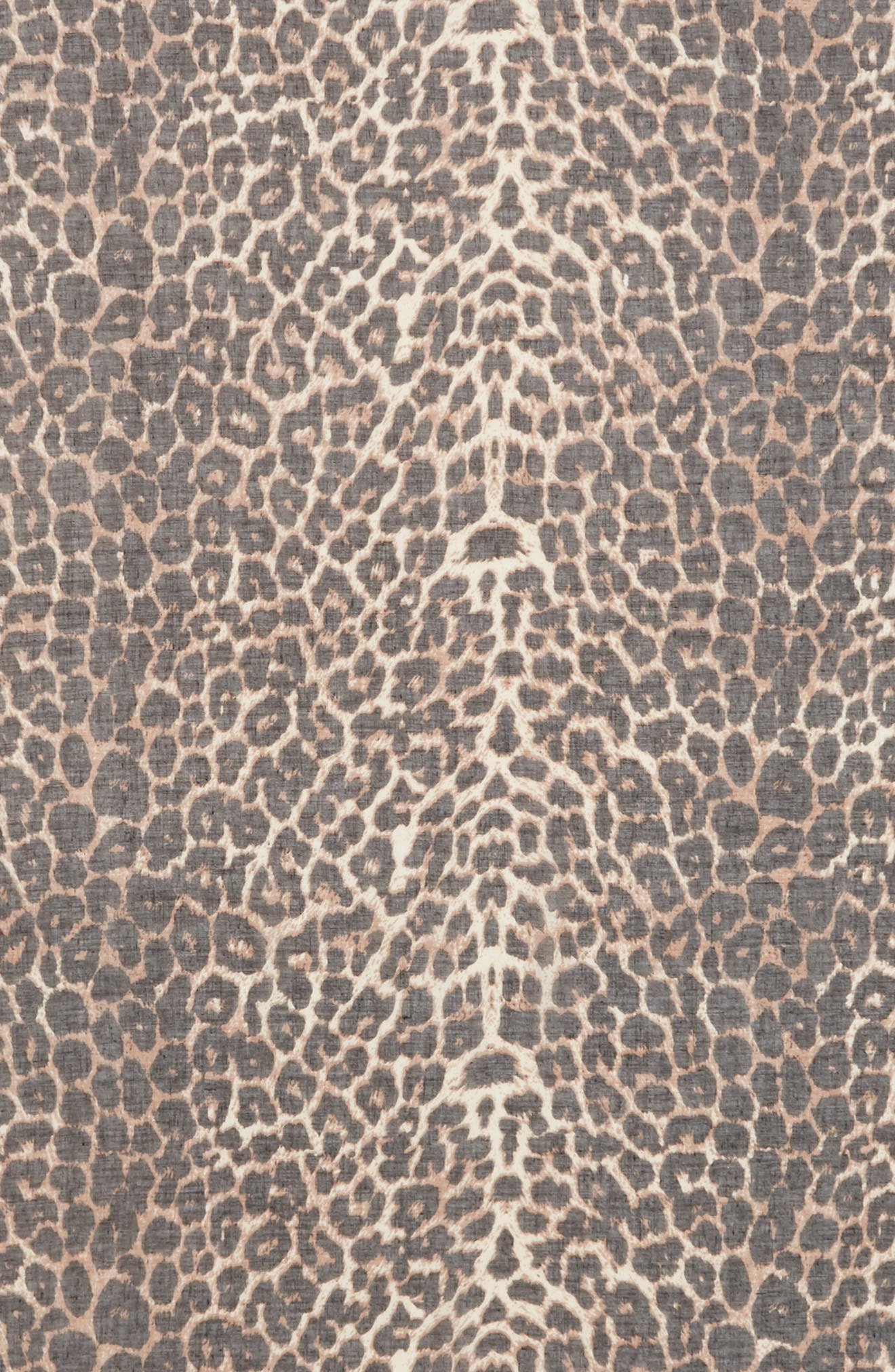 Leopard Print Oblong Scarf,                             Alternate thumbnail 4, color,                             BROWN MULTI