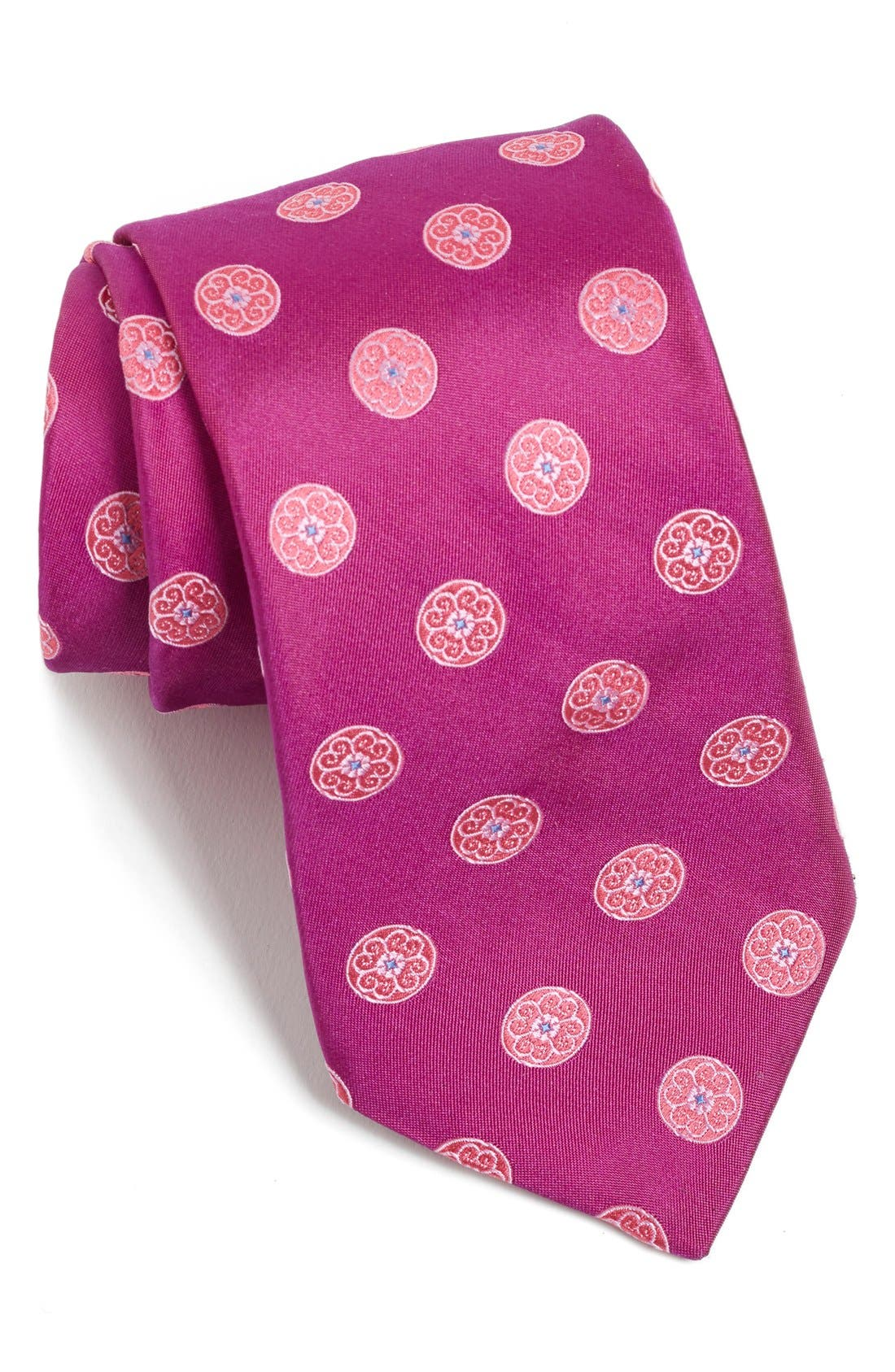 Medallion Woven Silk Tie,                             Main thumbnail 4, color,