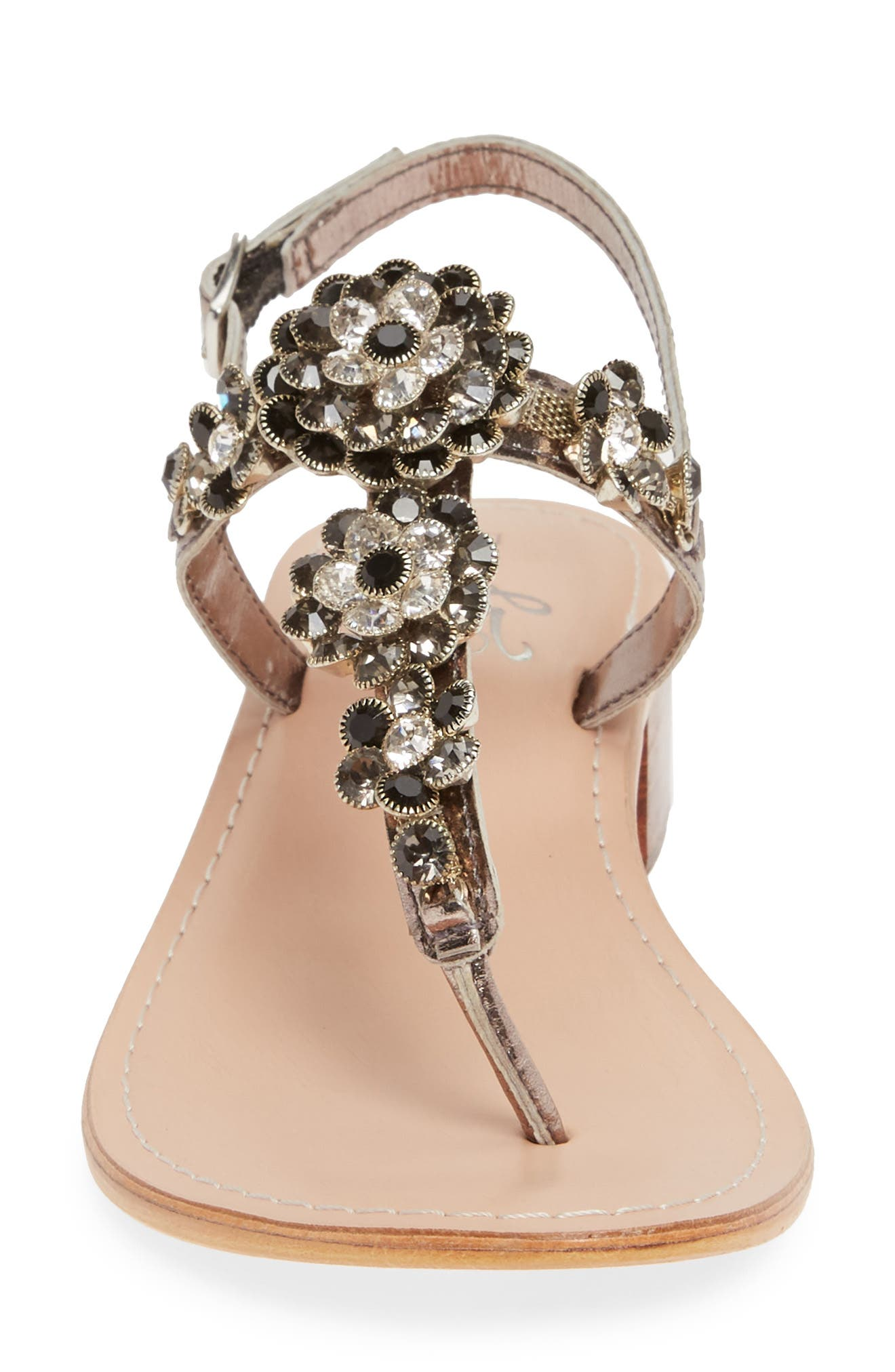 BOS. & CO.,                             Wyn Embellished Sandal,                             Alternate thumbnail 4, color,                             ANTHRACITE/ PEWTER LEATHER
