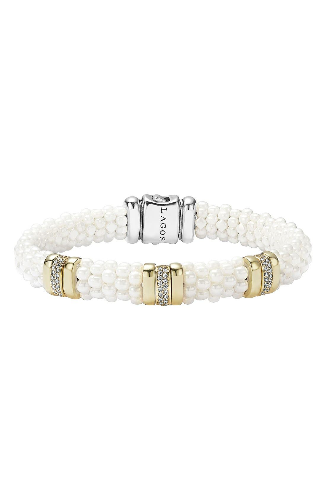 'White Caviar' Three Station Bracelet,                         Main,                         color, WHITE CAVIAR/ YELLOW GOLD