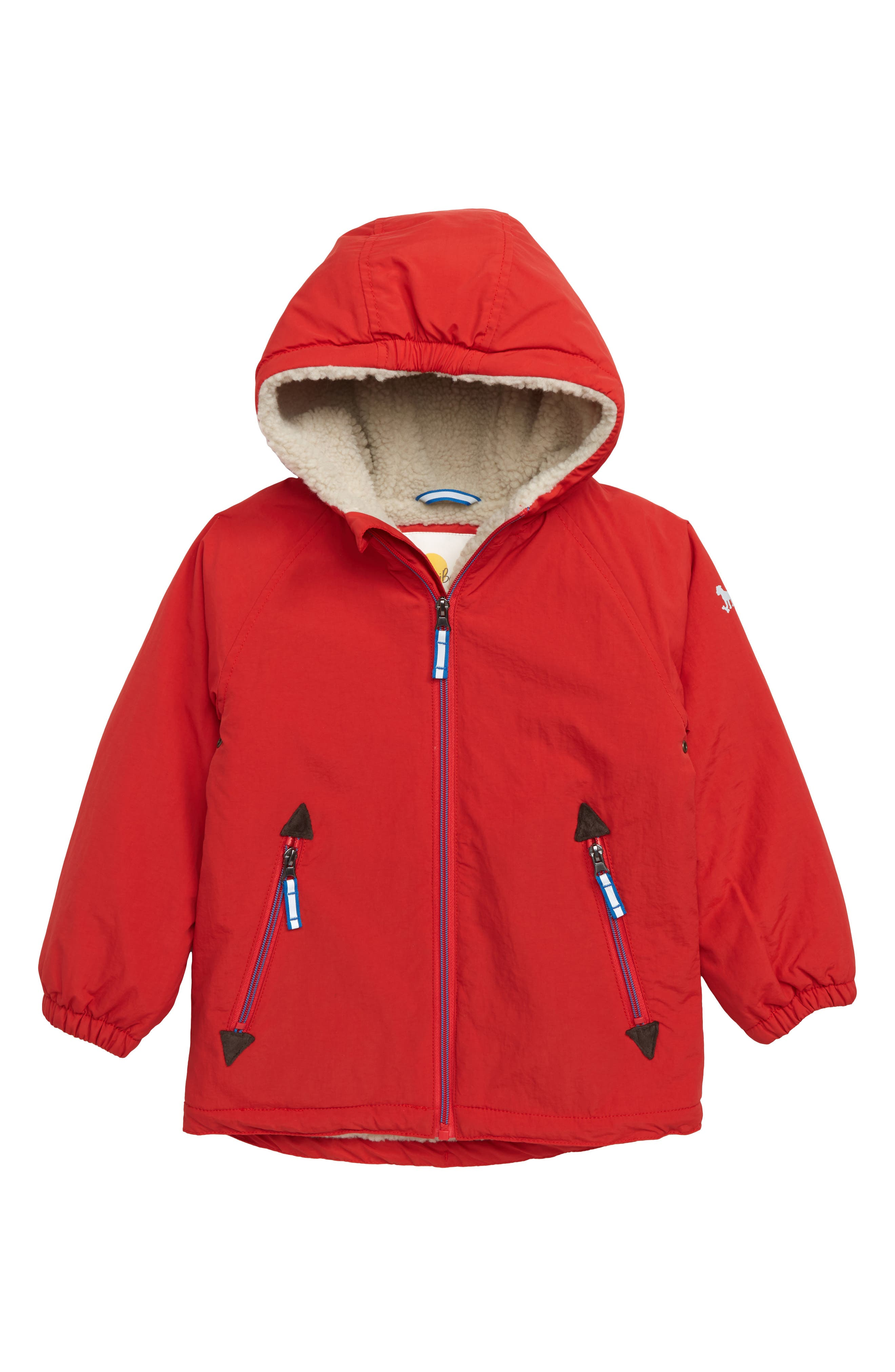 Water Resistant Lined Hooded Parka,                         Main,                         color, SALSA RED